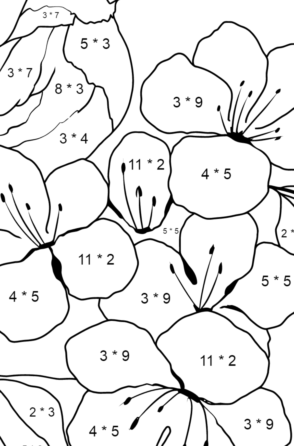 Summer Coloring Page - A Bird is Chirping on the Branch of an Apple Tree for Children  - Color by Number Multiplication
