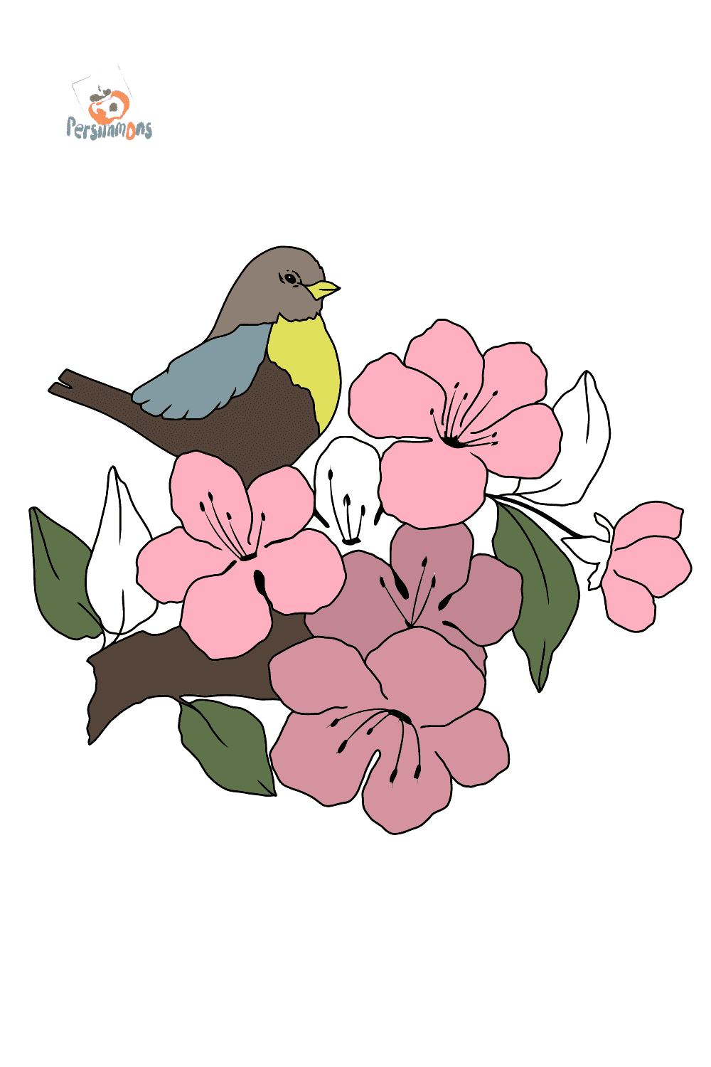 Online Summer Coloring Page A Bird On A Branch With Flowers
