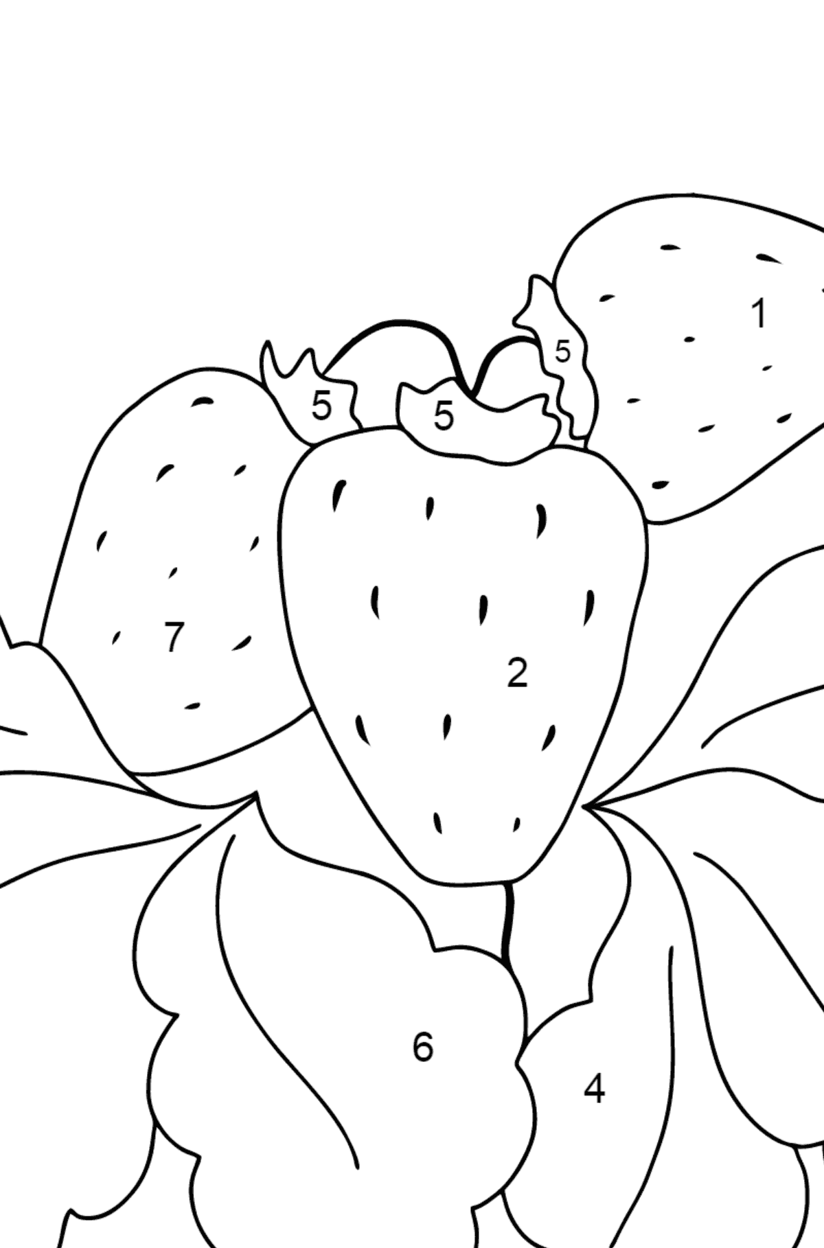 Coloring Page - Summer and Strawberries - Coloring by Numbers for Children