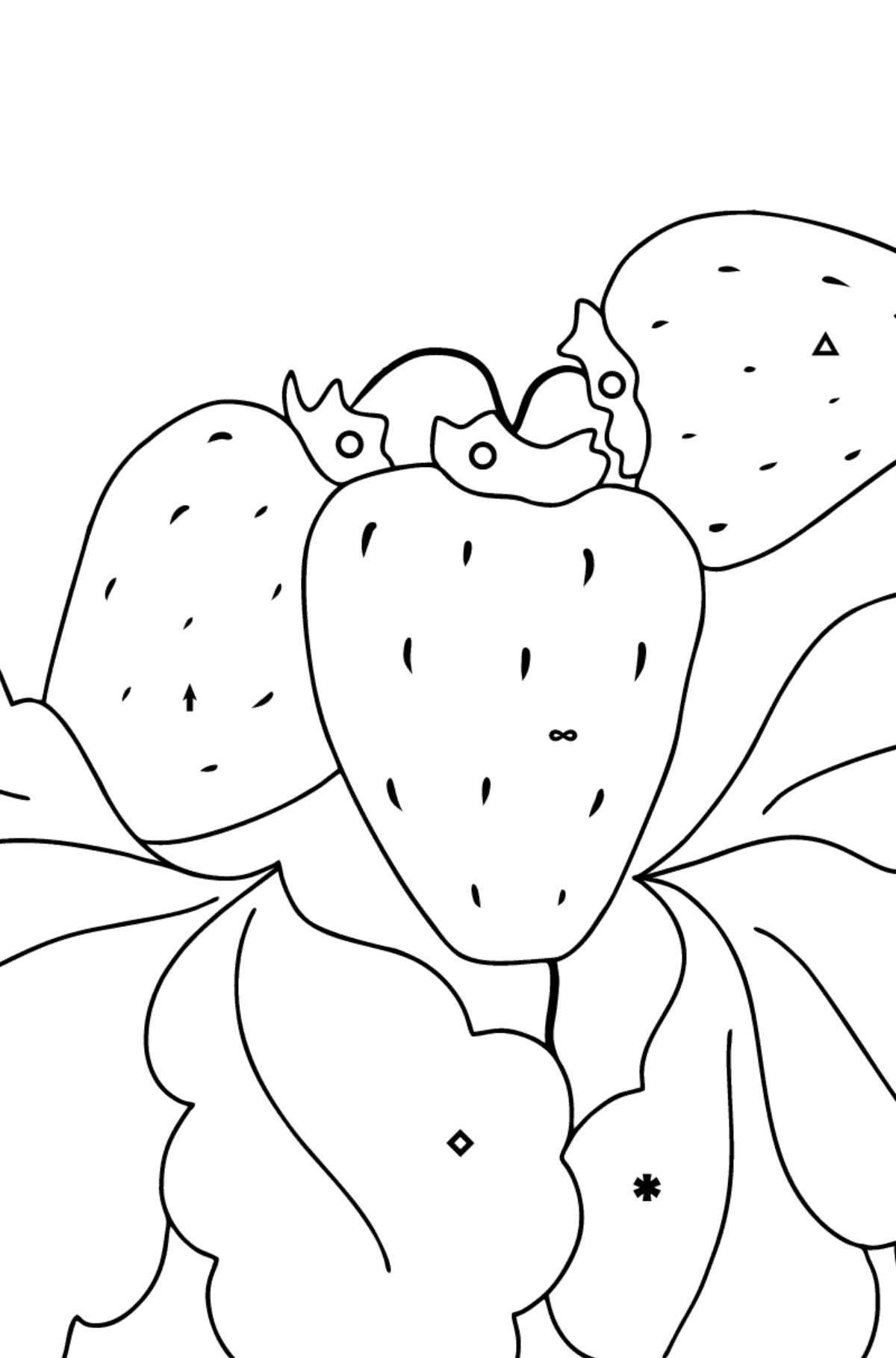 Coloring Page - Summer and Strawberries - Coloring by Symbols and Geometric Shapes for Kids