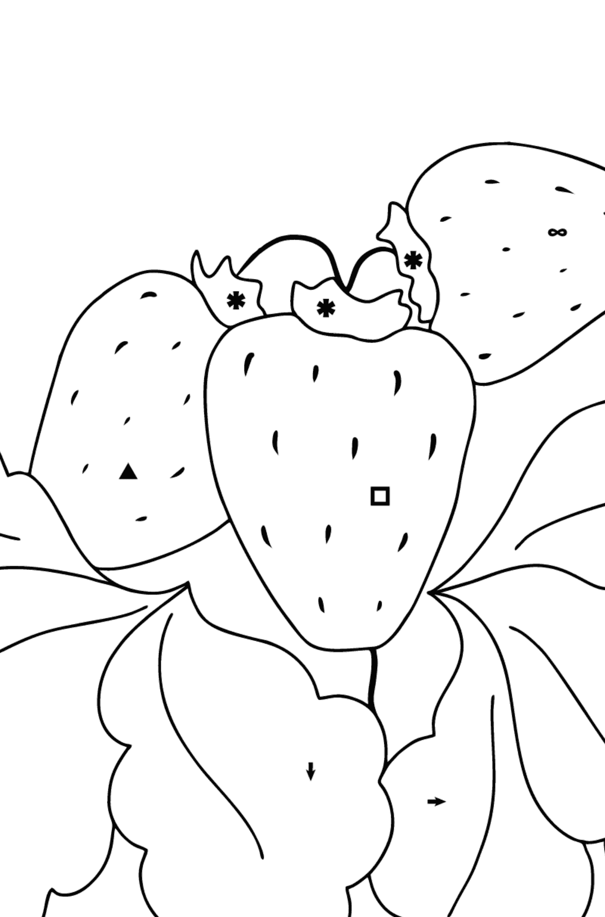 Coloring Page - Summer and Strawberries - Coloring by Symbols for Kids