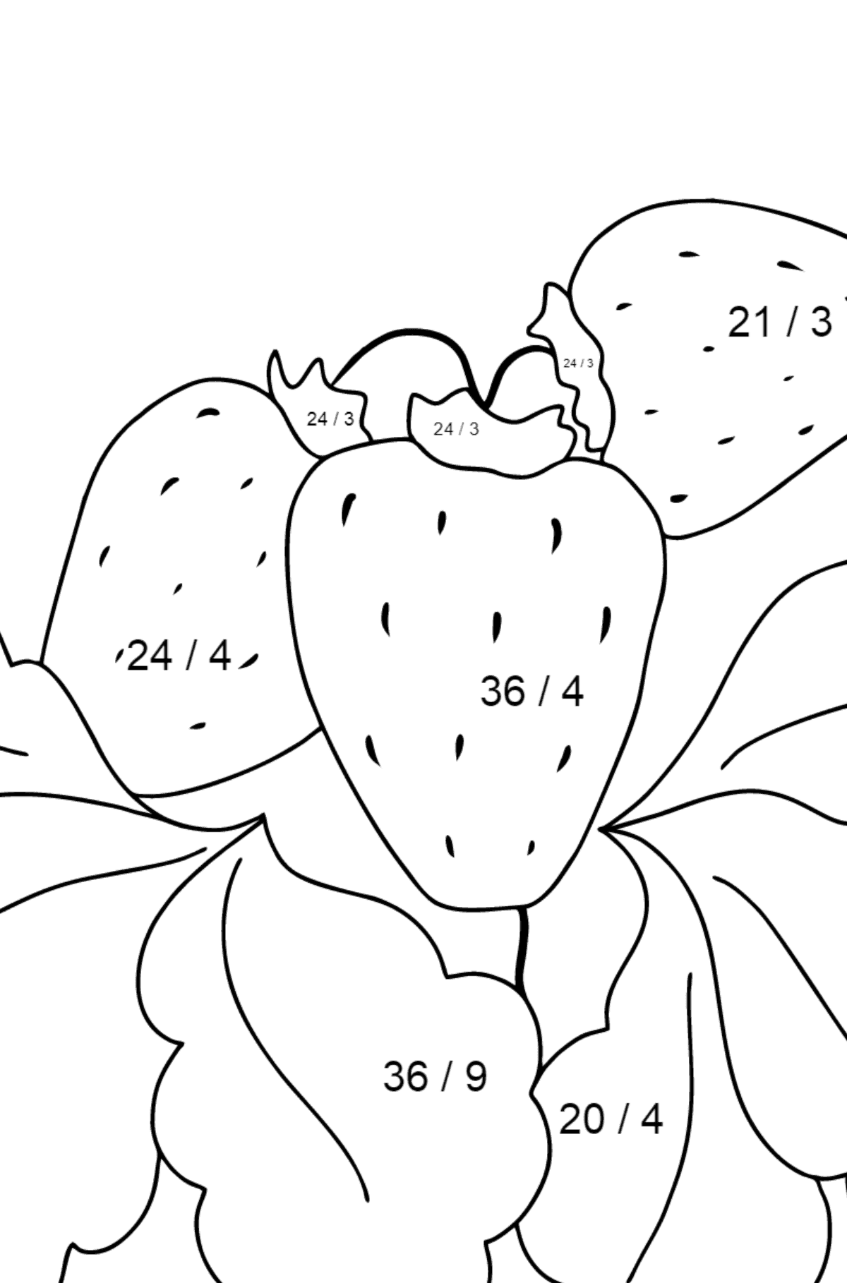 Coloring Page - Summer and Strawberries - Math Coloring - Division for Children