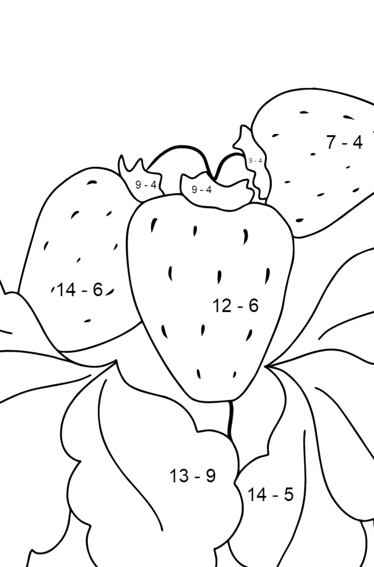 Coloring Page - Summer and Strawberries - Math Coloring - Subtraction for Kids