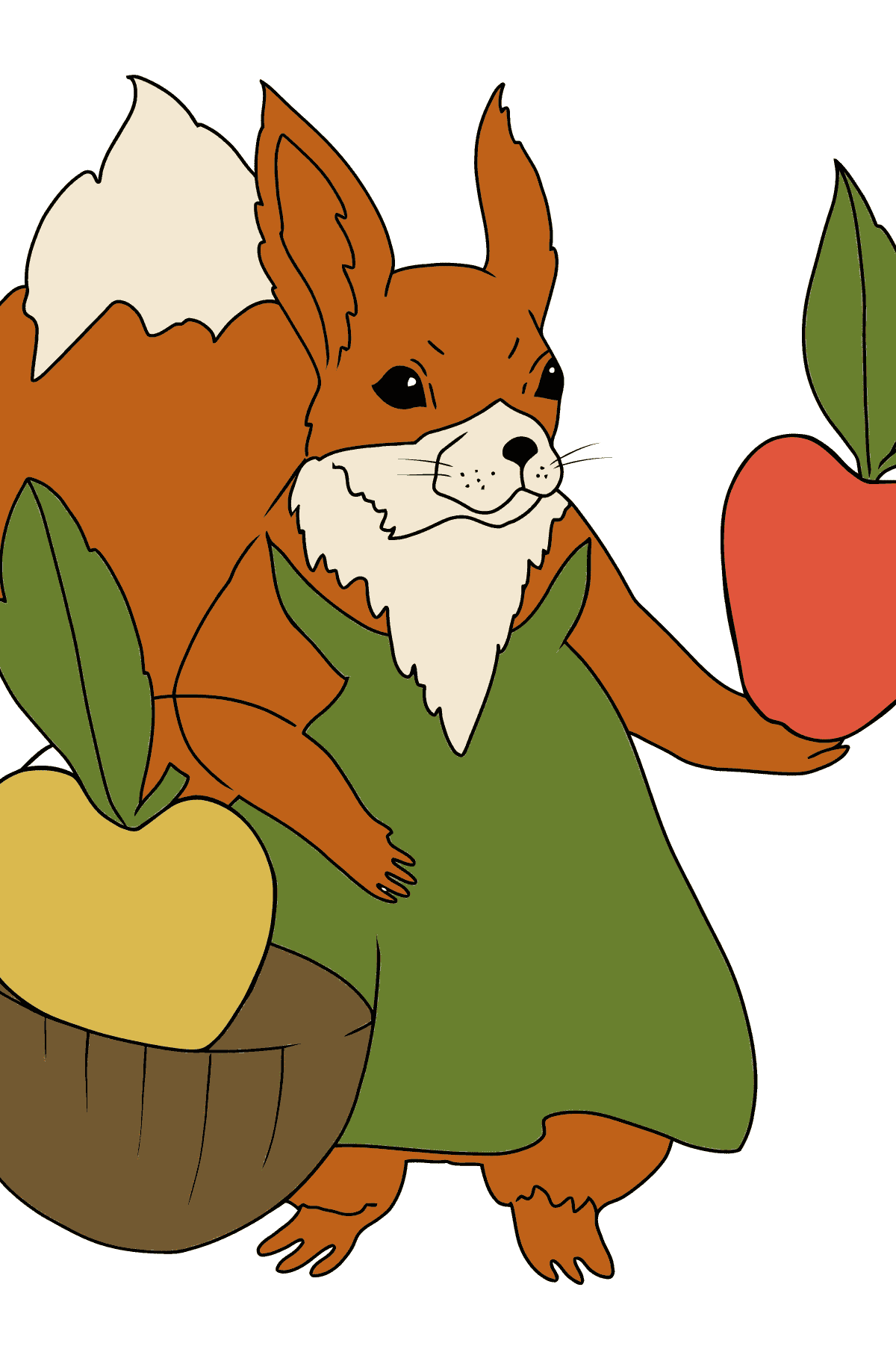 Summer Coloring Page - Squirrels are Preparing Apples for Winter for Kids