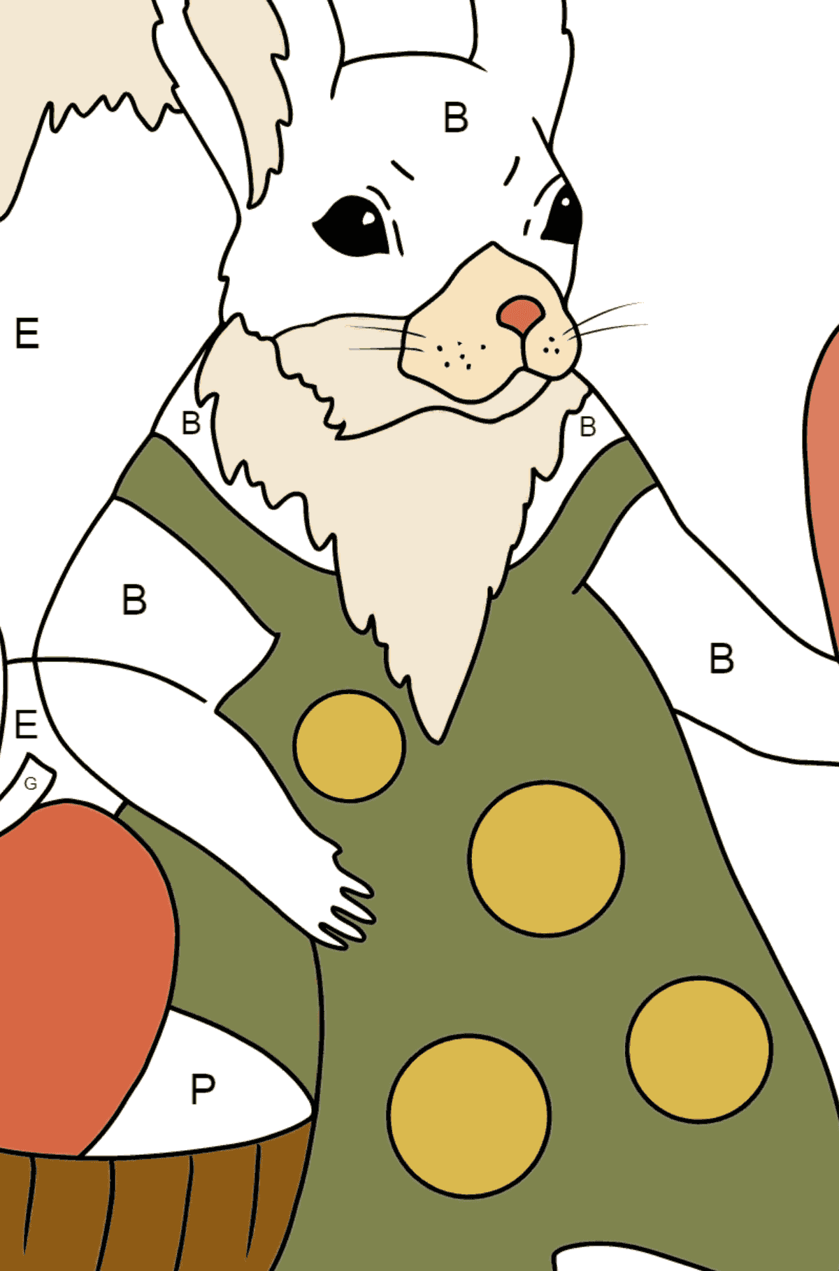 Summer Coloring Page - Squirrels have Collected Apples for Winter for Kids  - Color by Letters
