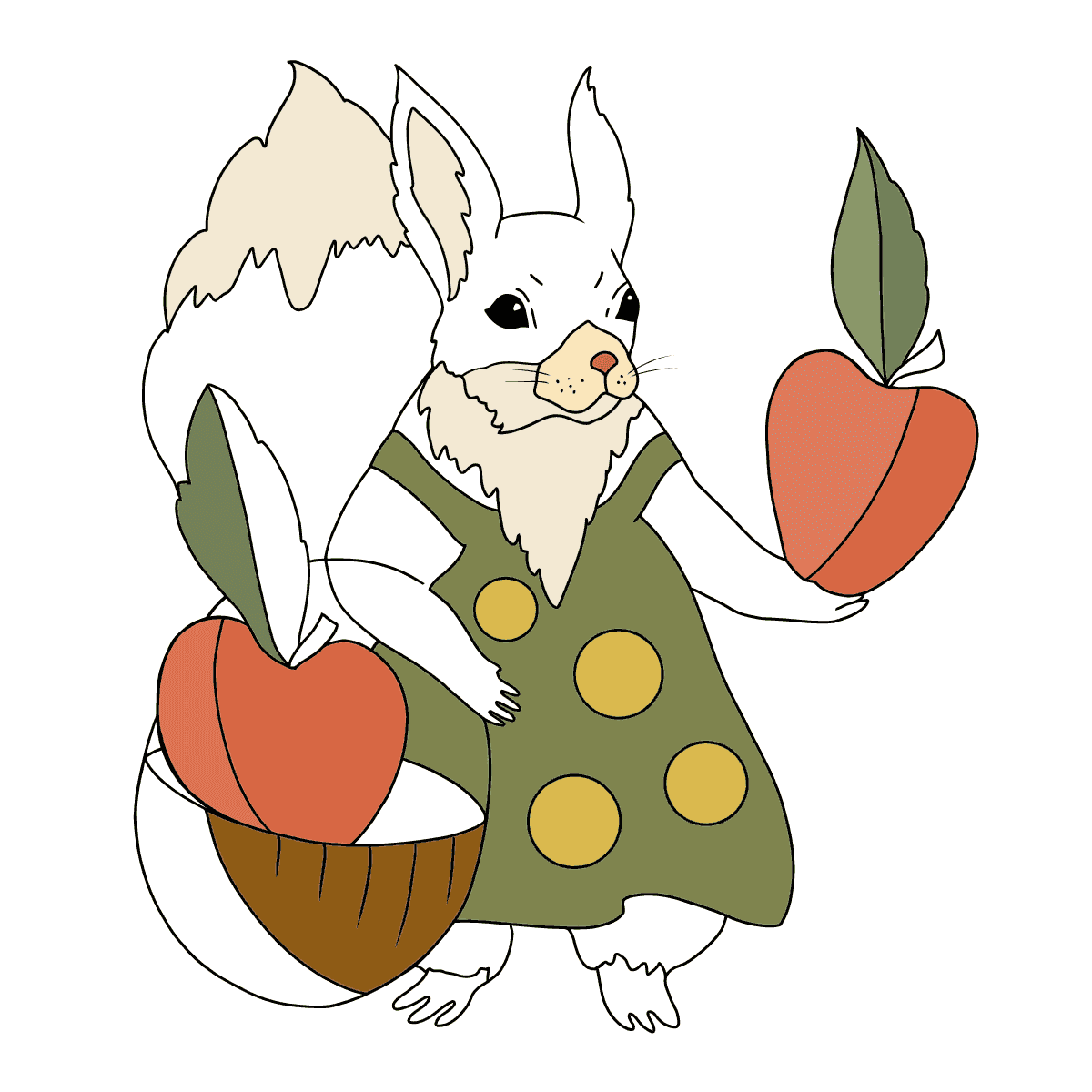 Summer Coloring Page - Squirrels have Collected Apples for Winter