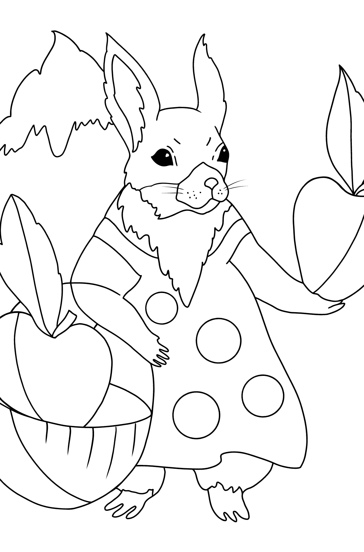 Summer Coloring Page - Squirrels have Collected Apples for Winter for Kids