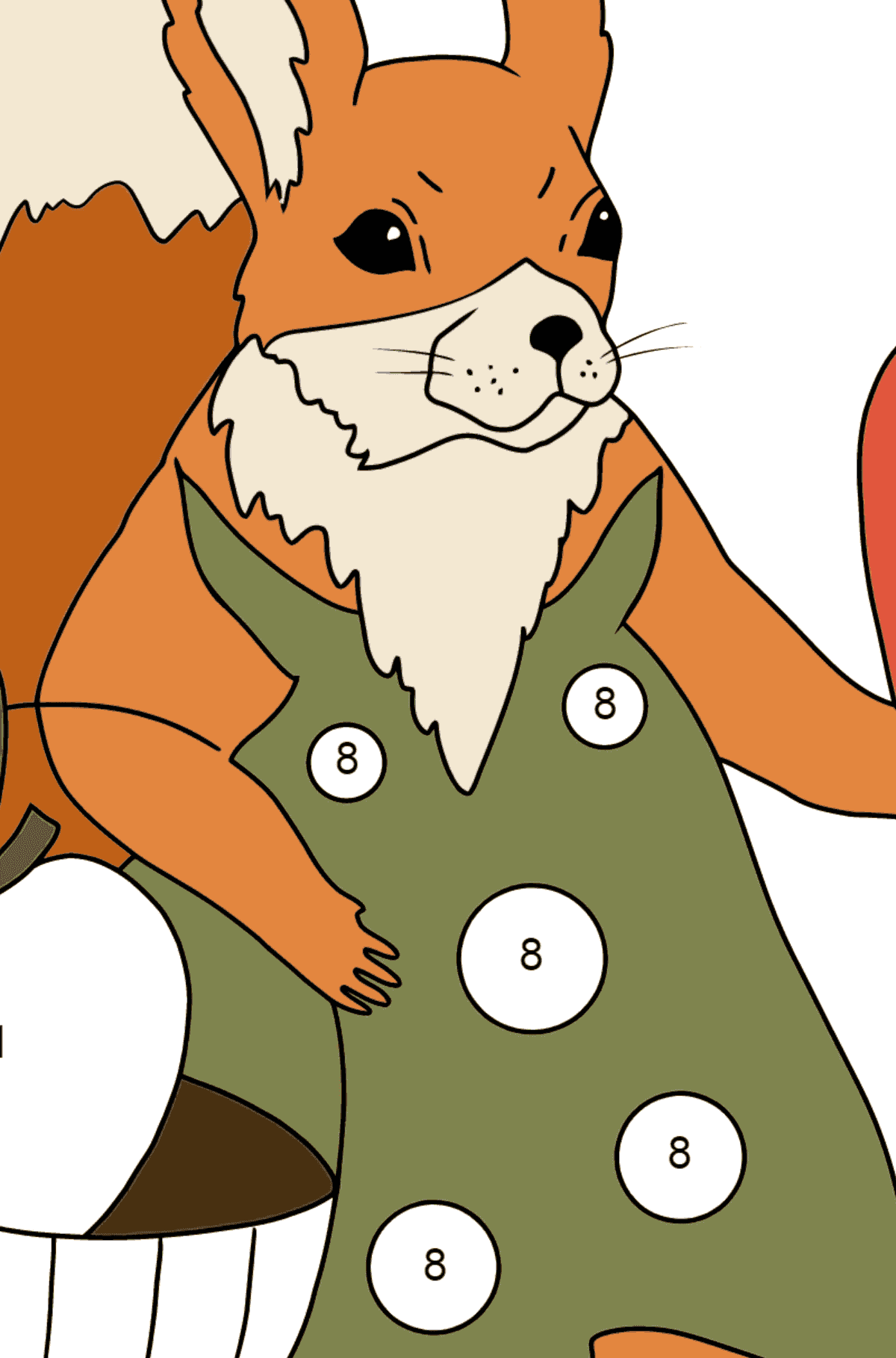 Summer Coloring Page - Squirrels with Apples for Children  - Color by Number
