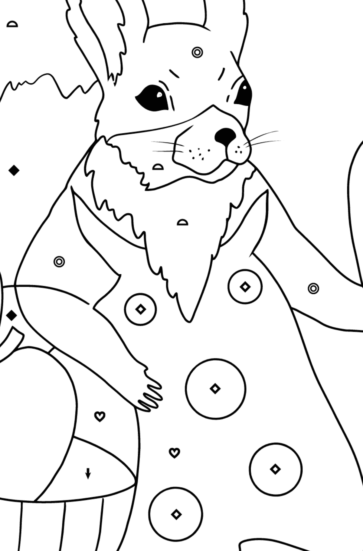 Summer Coloring Page - Squirrels with Apples for Kids  - Color by Symbols and Geometric Shapes