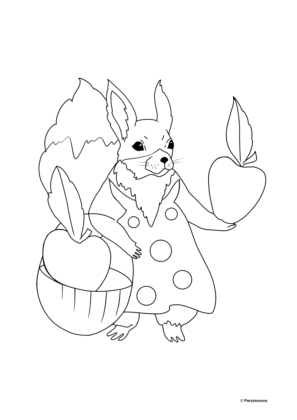 Summer Coloring Page - Squirrels with Apples for Children