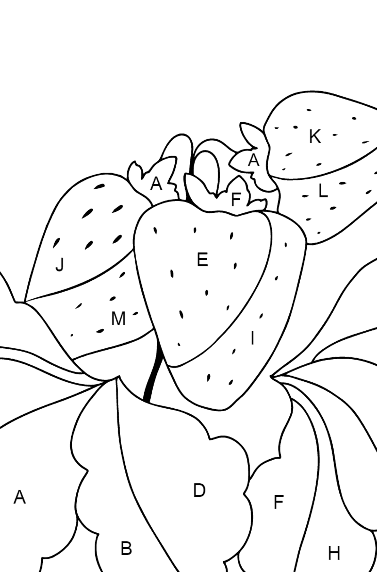 Summer Coloring Page - Strawberries are Ready on the Garden Bed - Coloring by Letters for Children