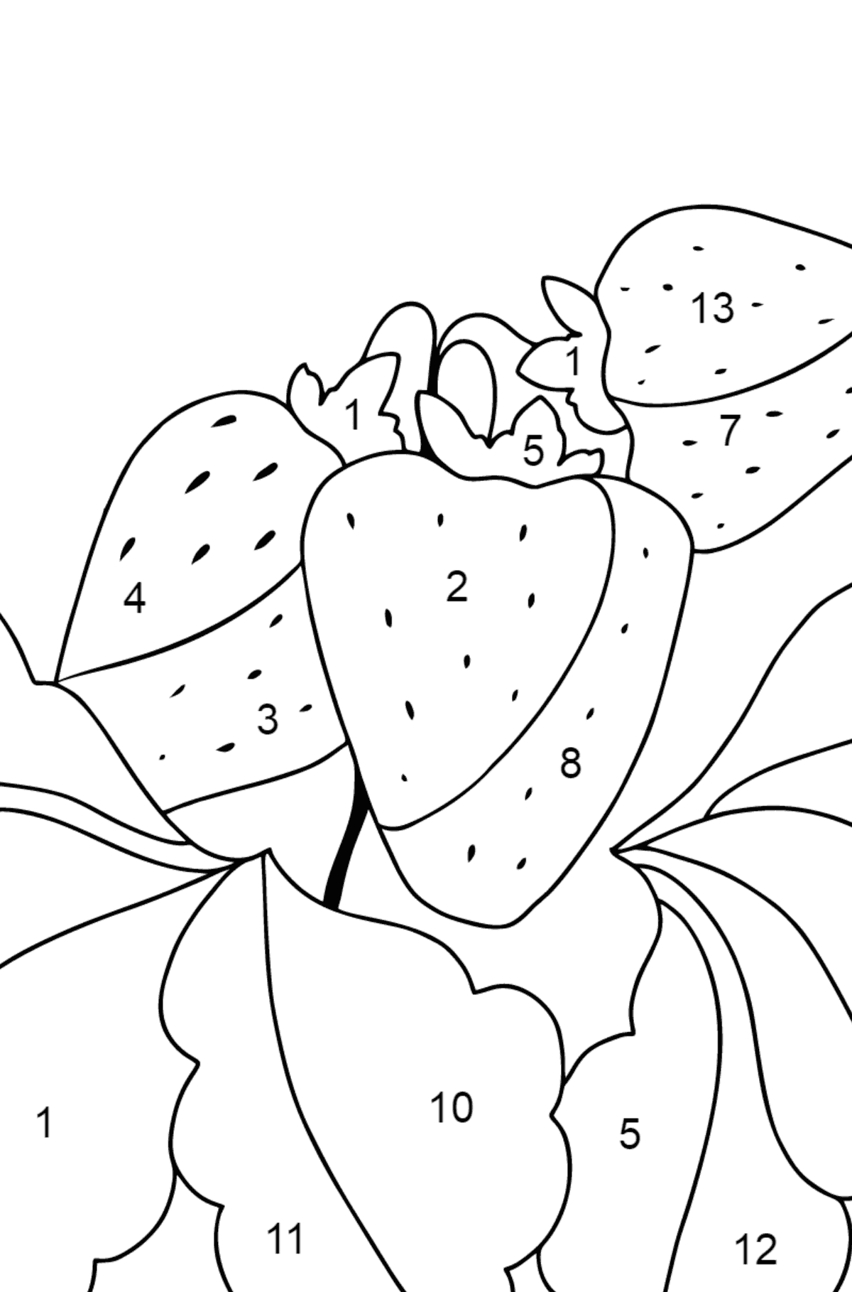 Summer Coloring Page - Strawberries are Ready on the Garden Bed - Coloring by Numbers for Kids