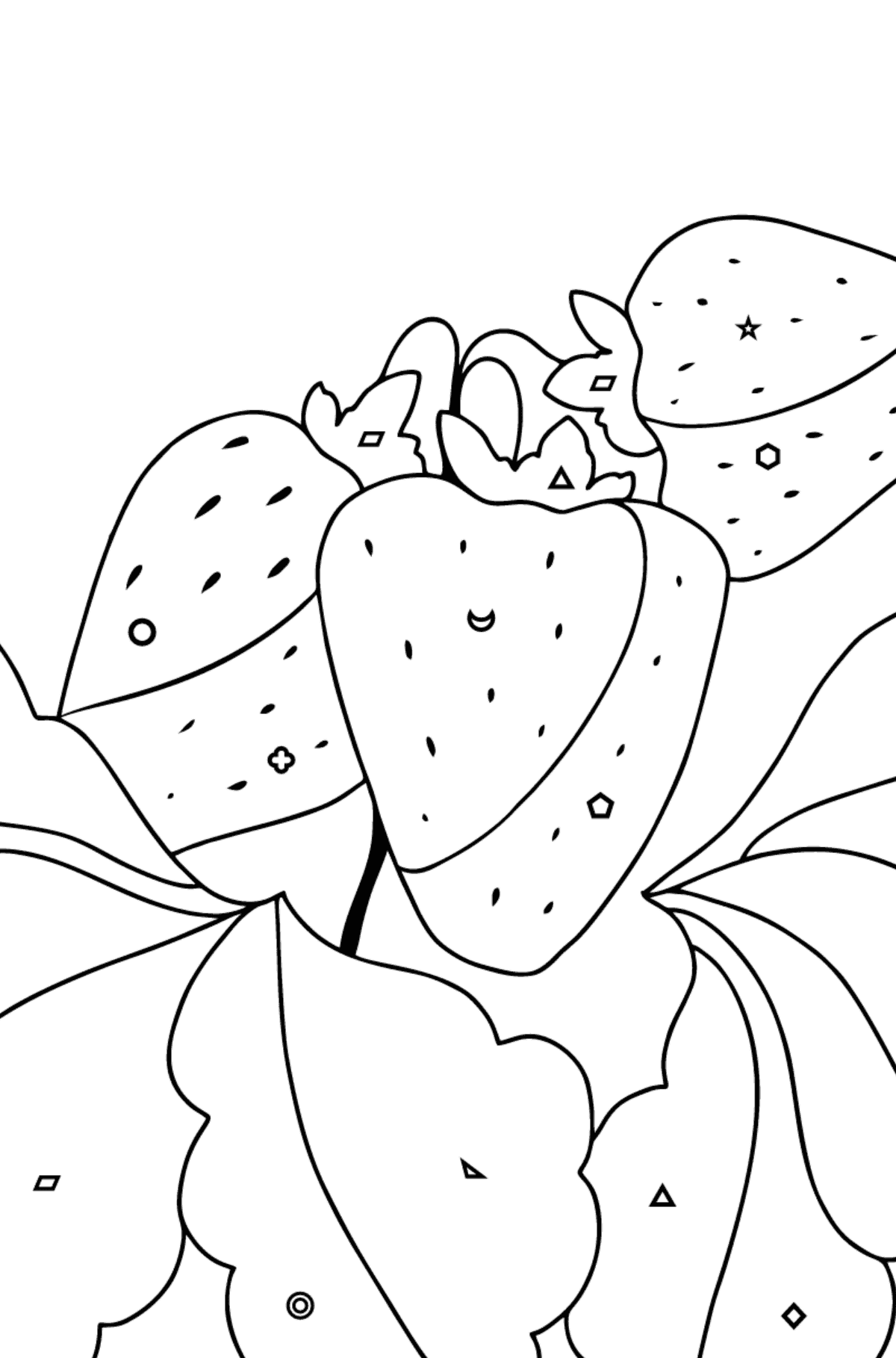 Summer Coloring Page - Strawberries are Ready on the Garden Bed - Coloring by Geometric Shapes for Kids
