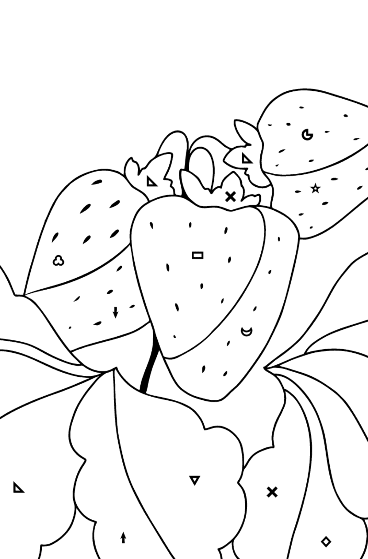 Summer Coloring Page - Strawberries are Ready on the Garden Bed - Coloring by Symbols and Geometric Shapes for Children