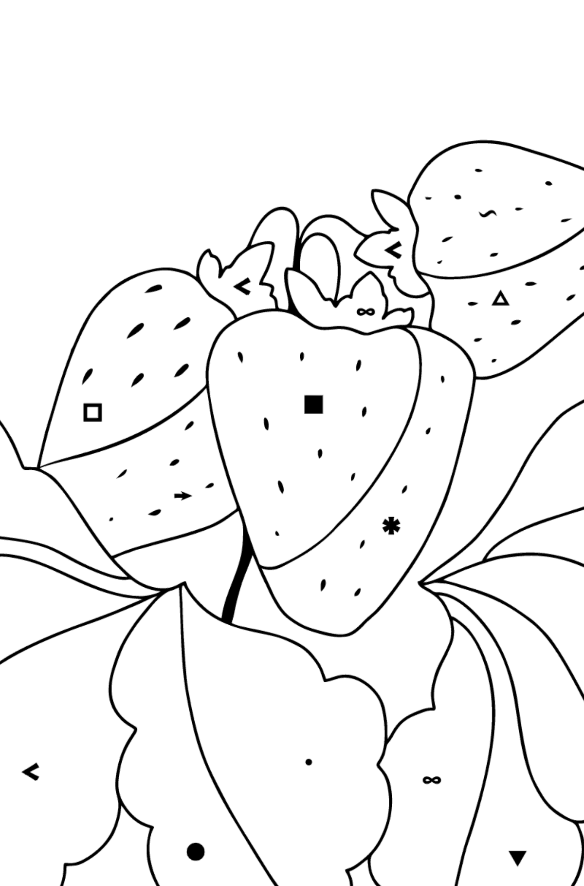 Summer Coloring Page - Strawberries are Ready on the Garden Bed - Coloring by Symbols for Kids
