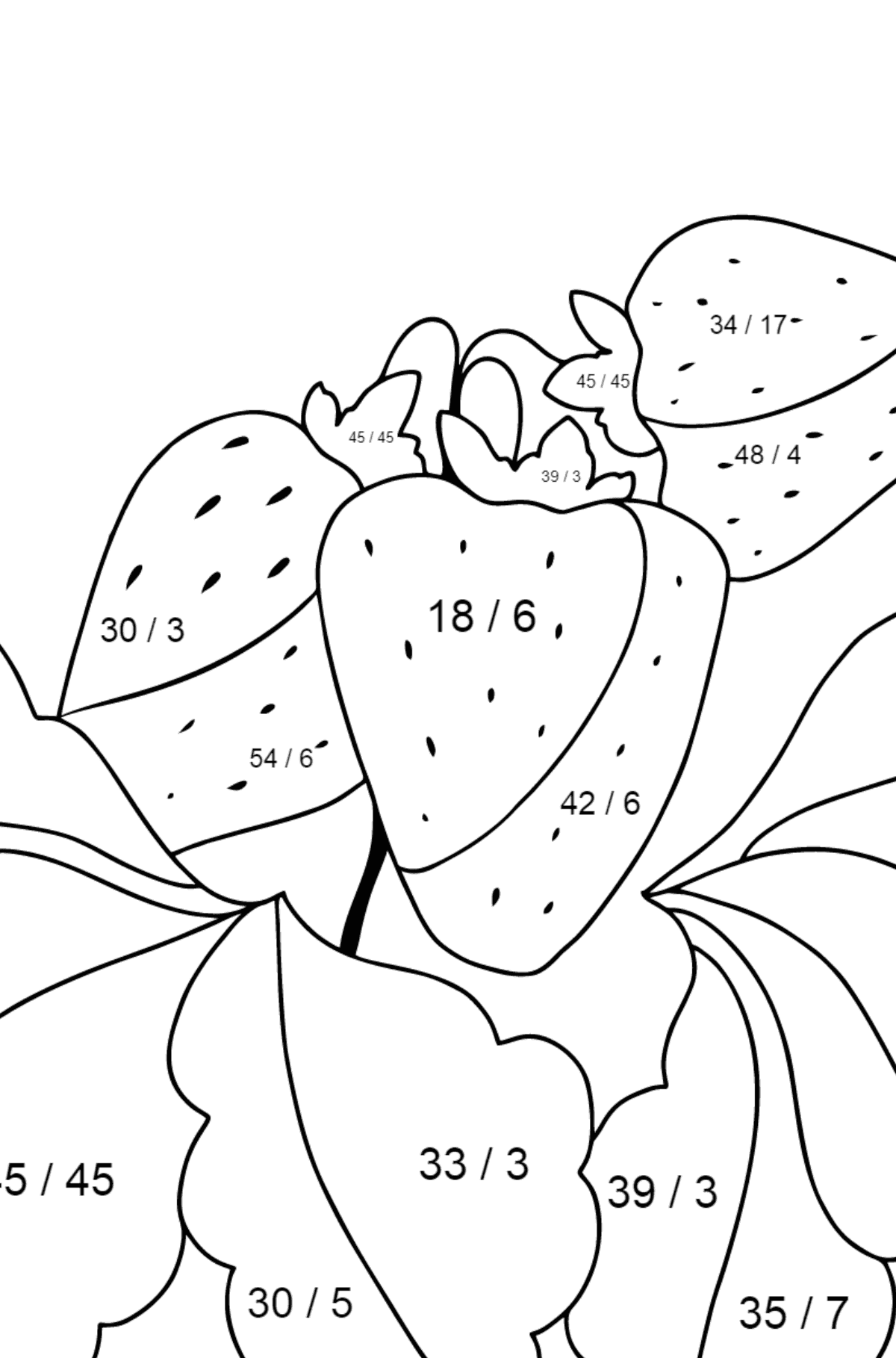 Summer Coloring Page - Strawberries are Ready on the Garden Bed - Math Coloring - Division for Kids