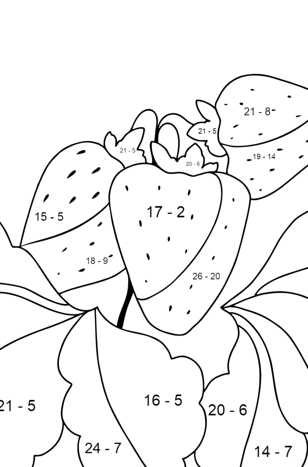 Summer Coloring Page - Strawberries are Ready on the Garden Bed - Math Coloring - Subtraction for Kids