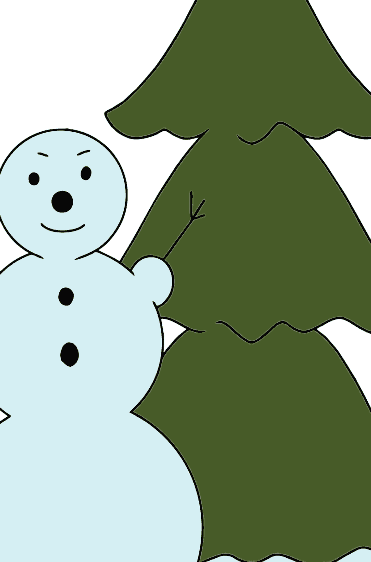 Winter Coloring Page - A Snowman for Children  - Color by Number