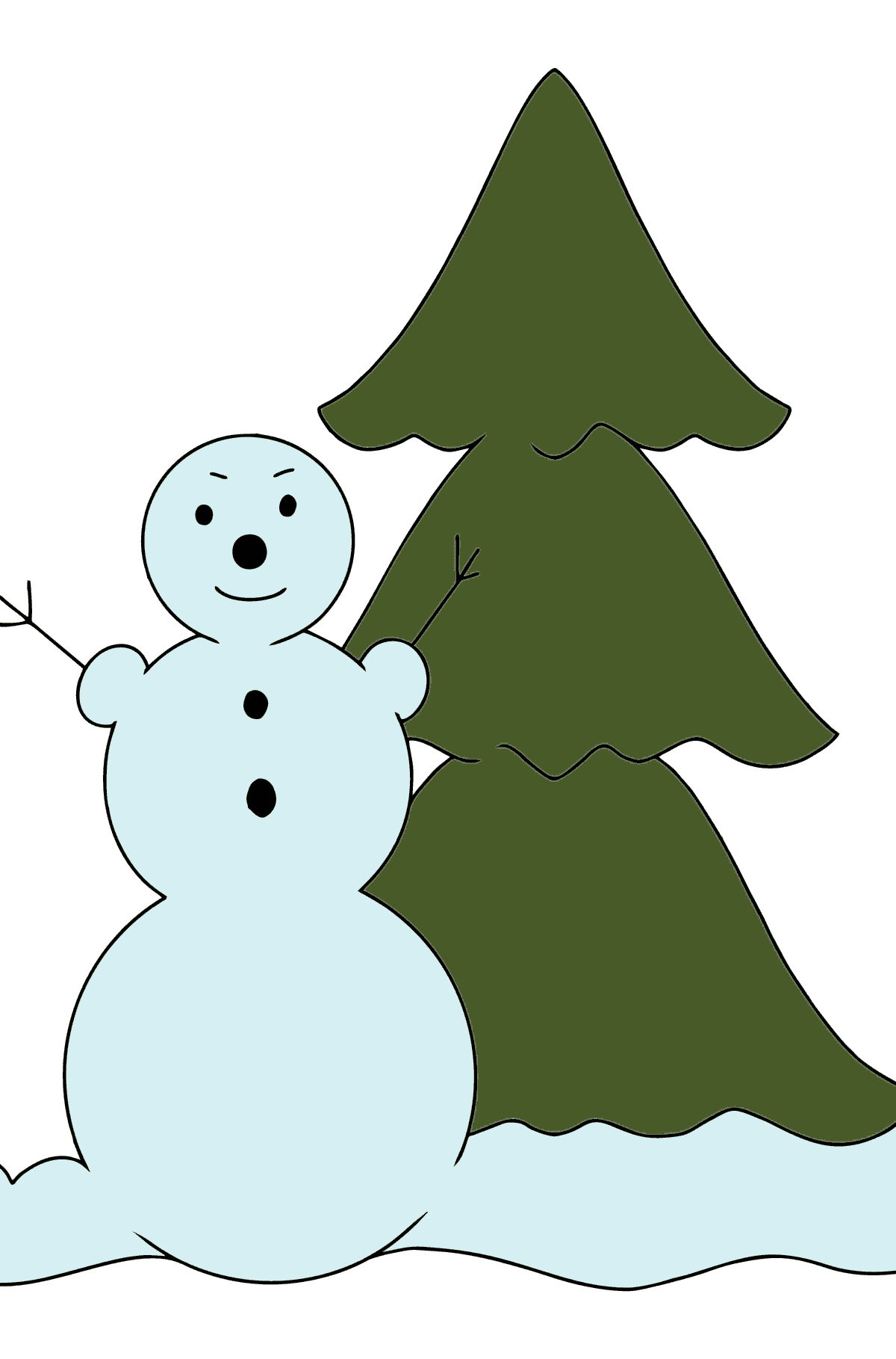 Winter Coloring Page - A Snowman for Children