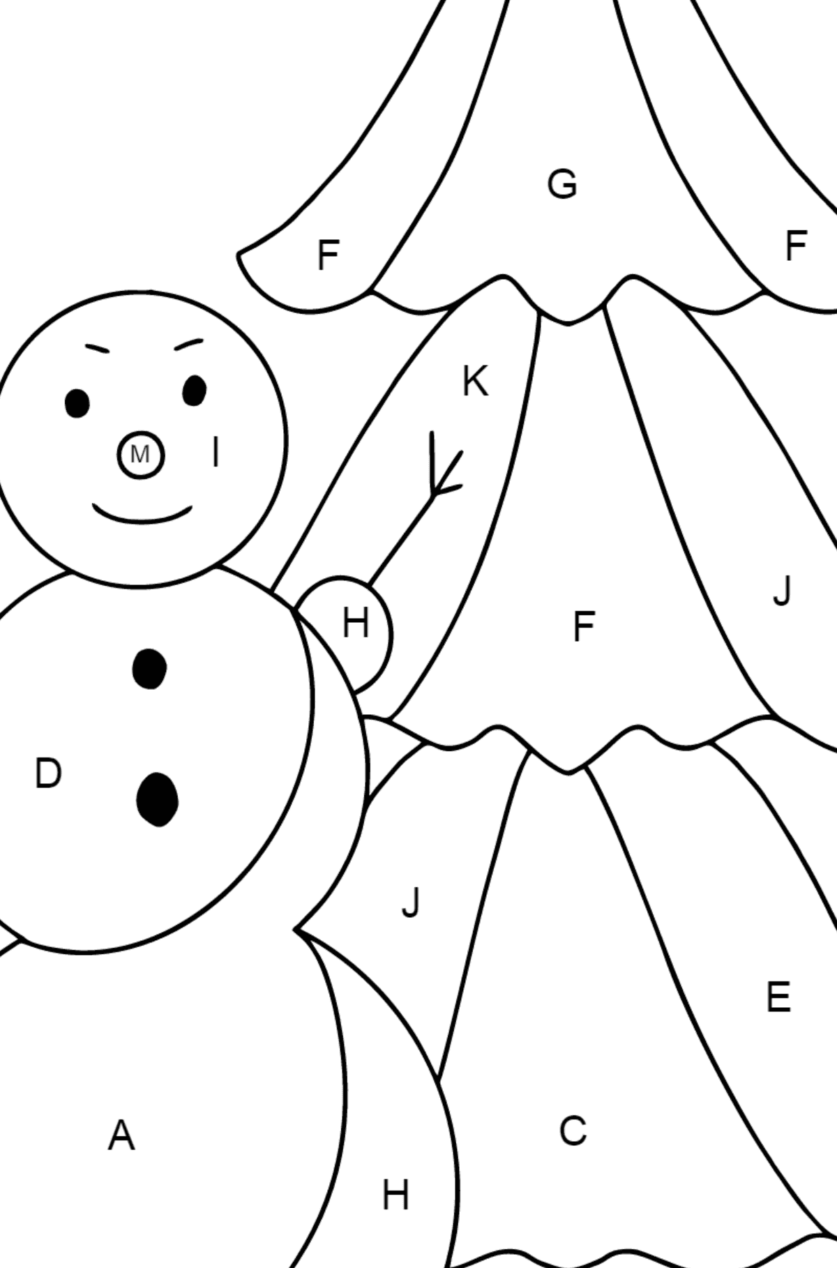 Winter Coloring Page - A Snowman with a Beautiful Christmas Tree for Children  - Color by Letters