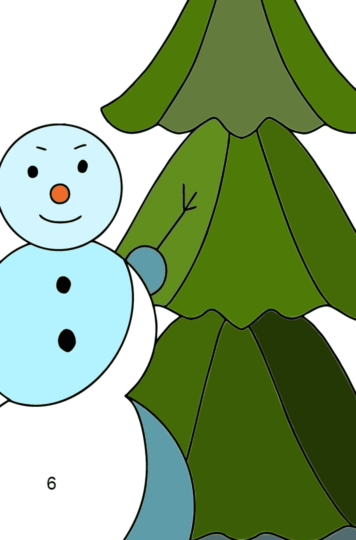 Winter Coloring Page - A Snowman with a Beautiful Christmas Tree for Children  - Color by Number