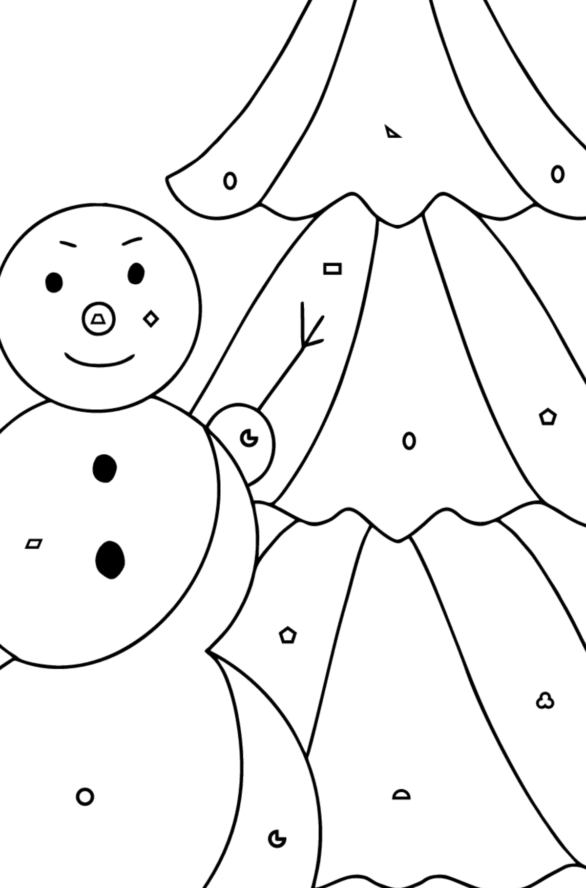 Winter Coloring Page - A Snowman with a Beautiful Christmas Tree for Kids  - Color by Geometric Shapes