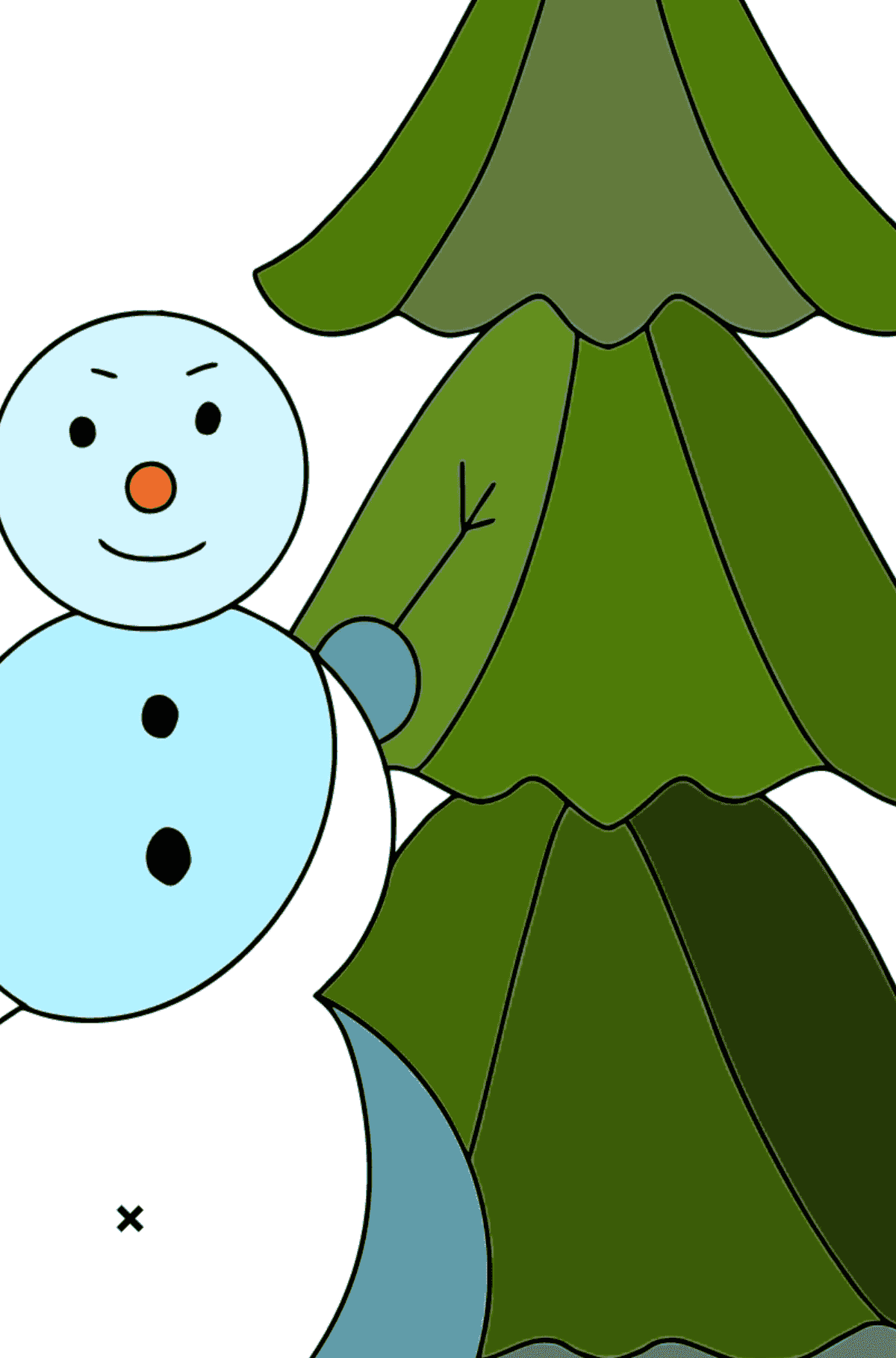 Winter Coloring Page - A Snowman with a Beautiful Christmas Tree for Kids  - Color by Symbols and Geometric Shapes
