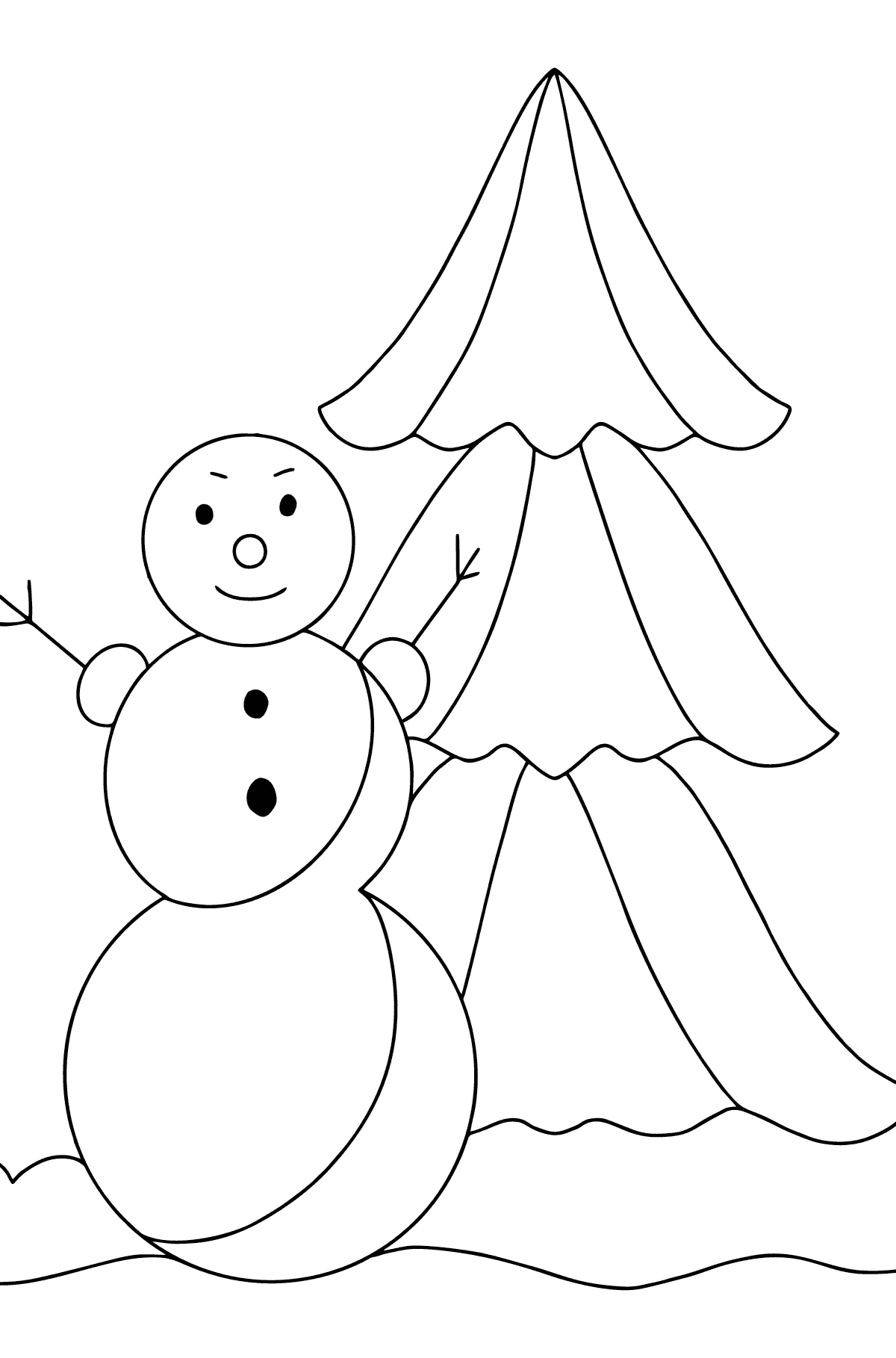 Winter Coloring Page - A Snowman with a Beautiful Christmas Tree for Children
