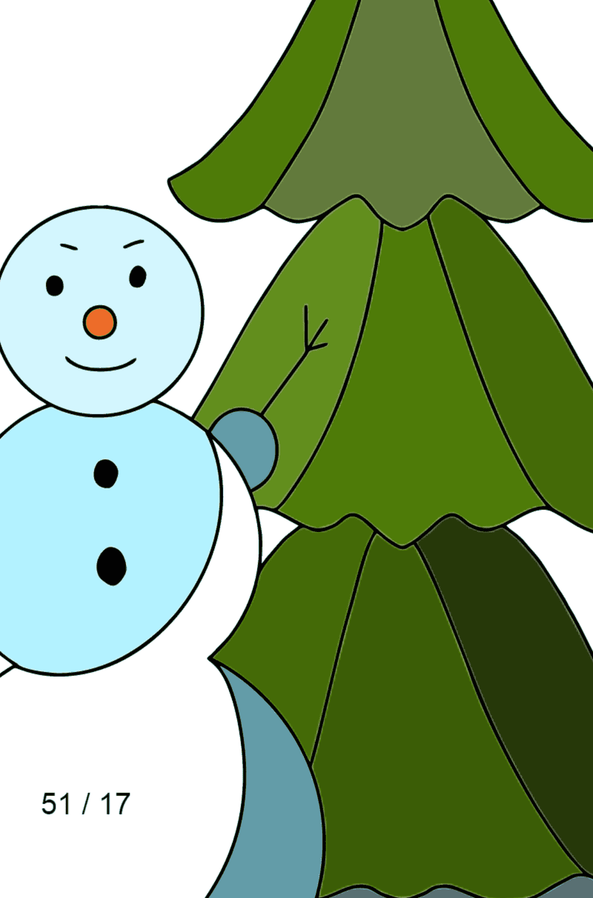 Winter Coloring Page - A Snowman with a Beautiful Christmas Tree for Children  - Color by Number Division
