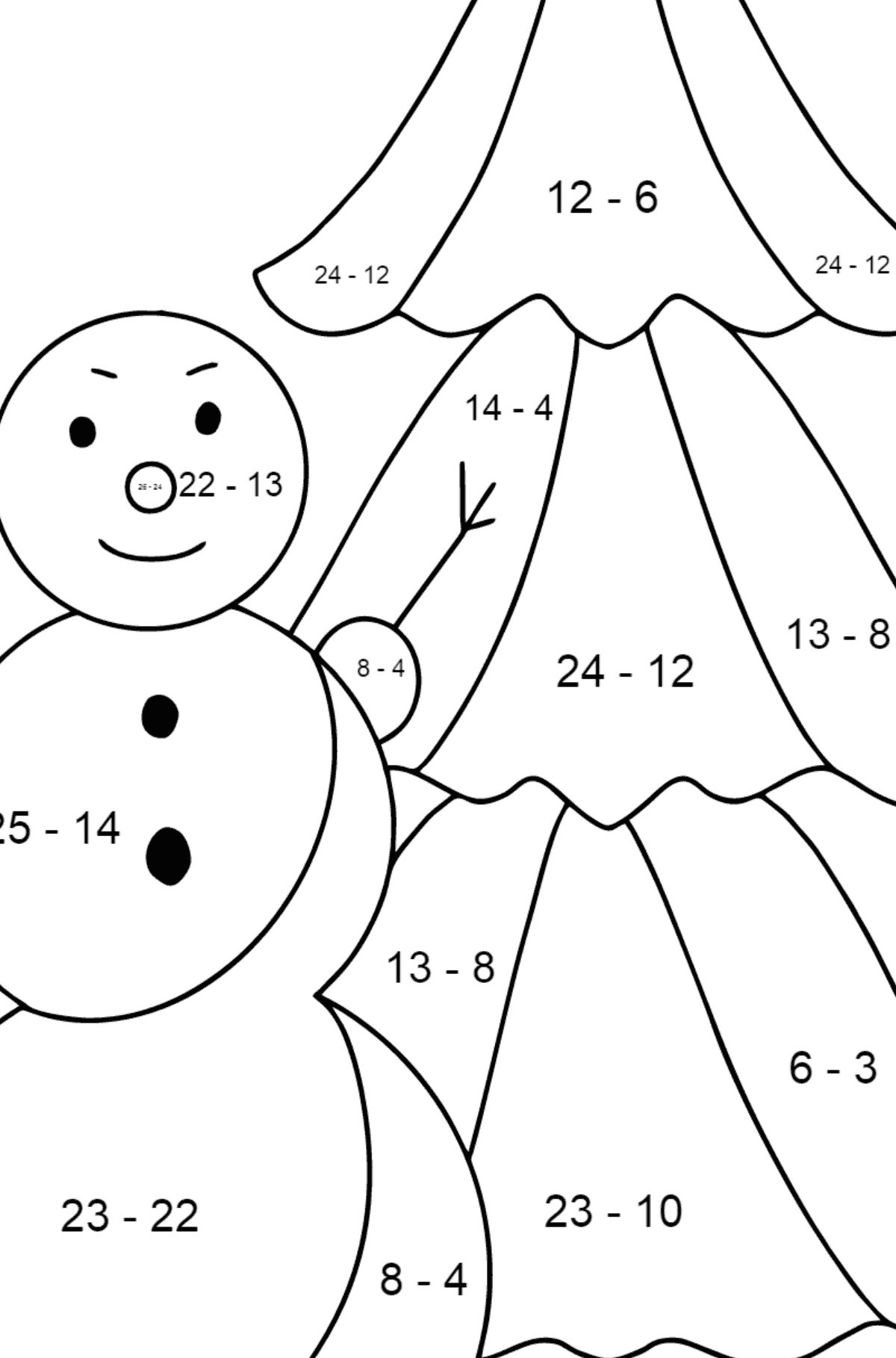 Winter Coloring Page - A Snowman with a Beautiful Christmas Tree for Children  - Color by Number Substraction