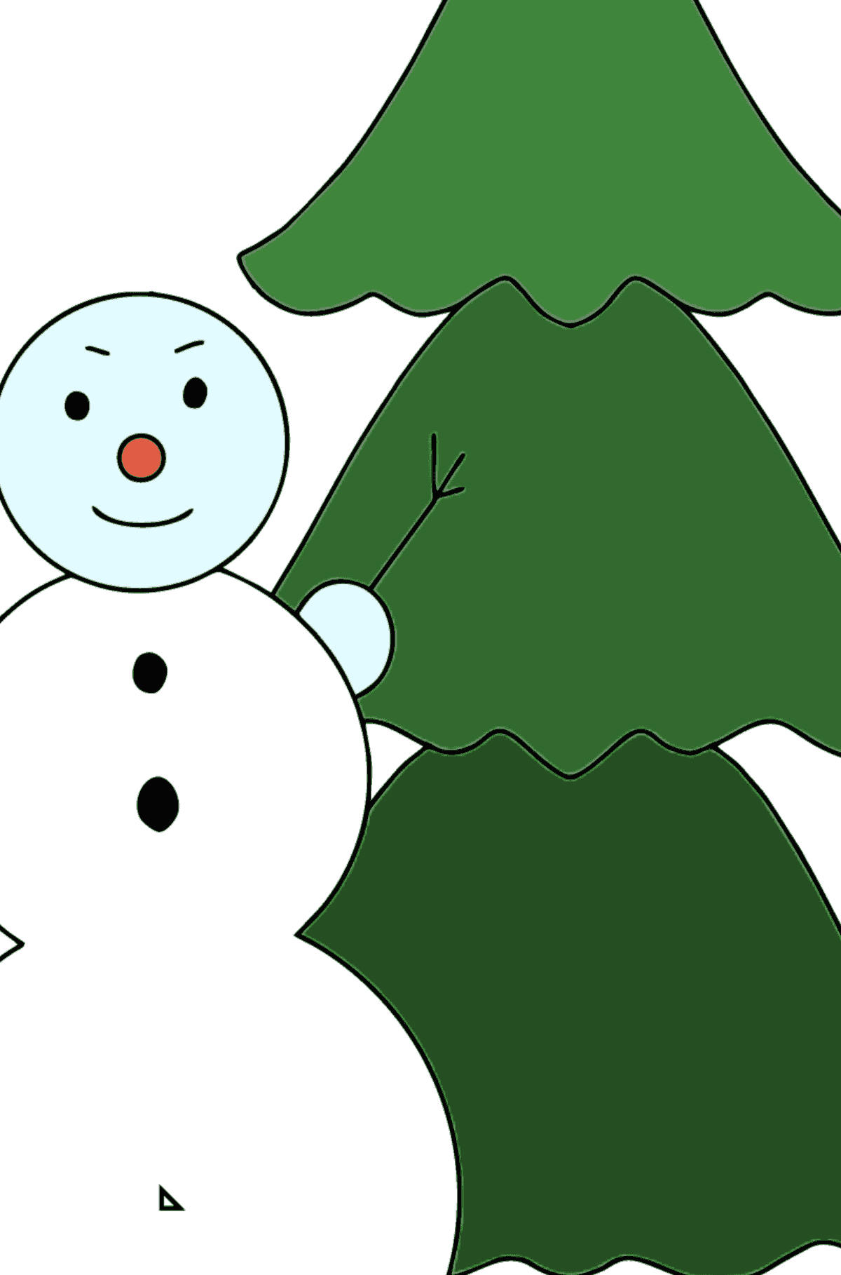 Winter Coloring Page - A Snowman with a Christmas Tree - Coloring by Geometric Shapes for Children
