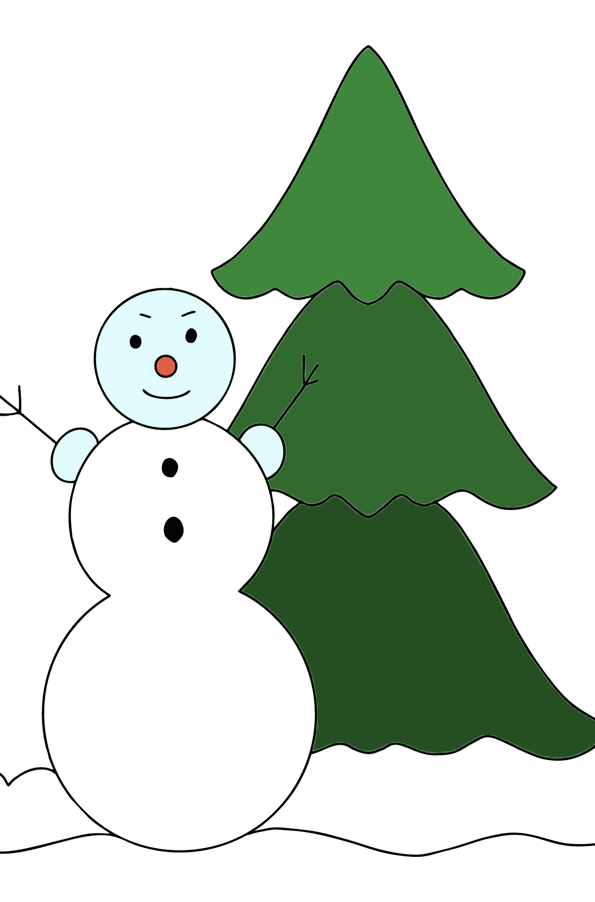 Winter Coloring Page - A Snowman with a Christmas Tree - Coloring Pages for Kids