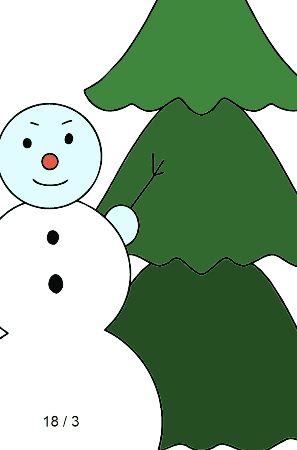 Winter Coloring Page - A Snowman with a Christmas Tree - Math Coloring - Division for Kids