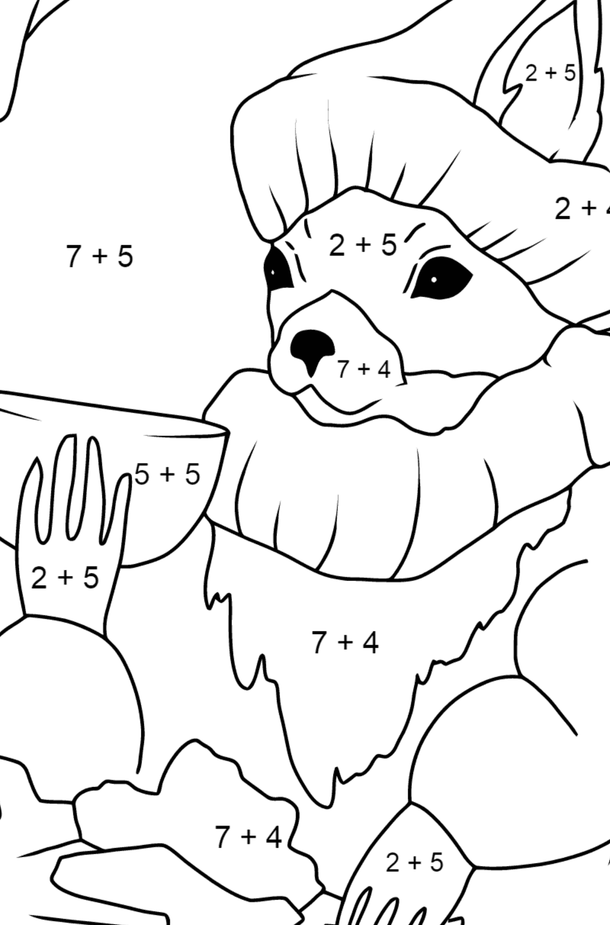 Winter Coloring Page - A Squirrel in a Cozy Burrow is Drinking Tea for Kids  - Color by Number Addition
