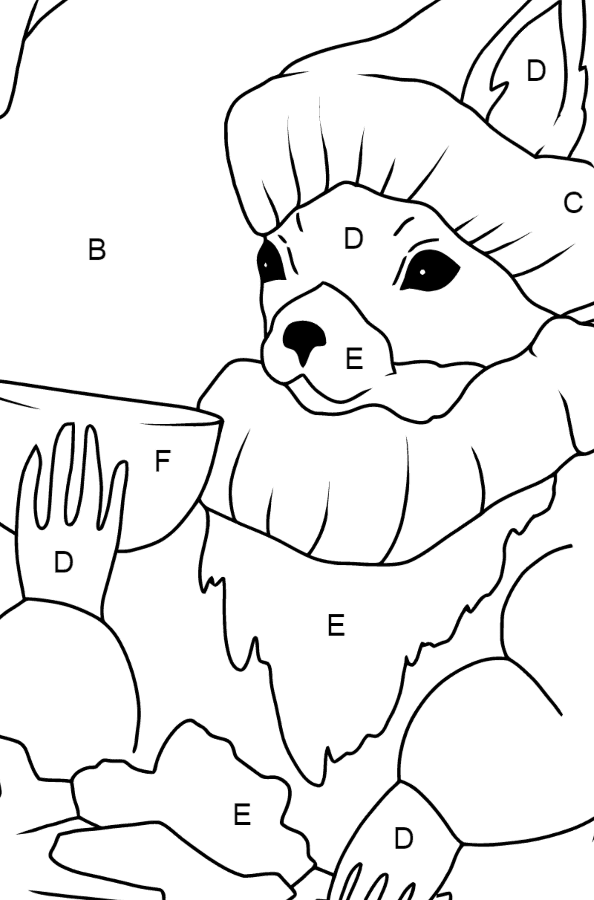 Winter Coloring Page - A Squirrel in a Cozy Burrow is Drinking Tea for Children  - Color by Letters