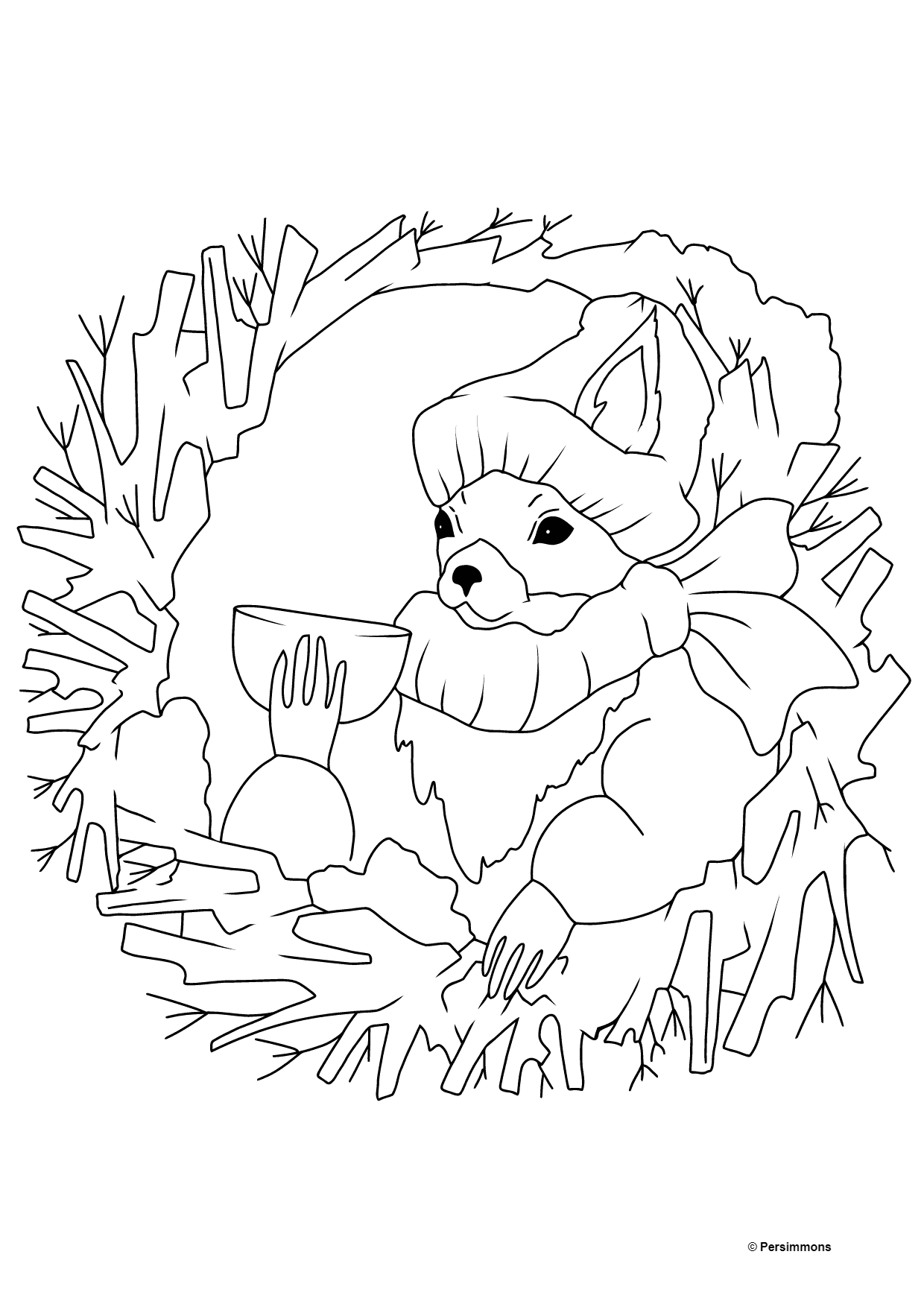 Winter Coloring Page - A Squirrel in a Cozy Burrow is Drinking Tea for Children
