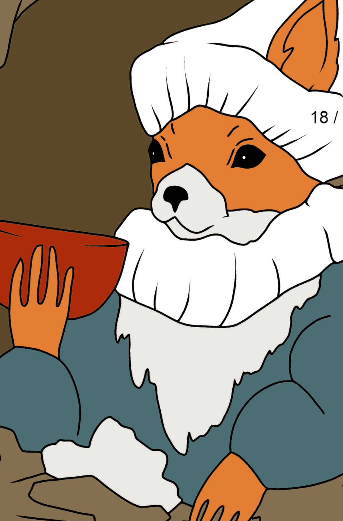 Winter Coloring Page - A Squirrel in a Cozy Burrow is Drinking Tea for Children  - Color by Number Division