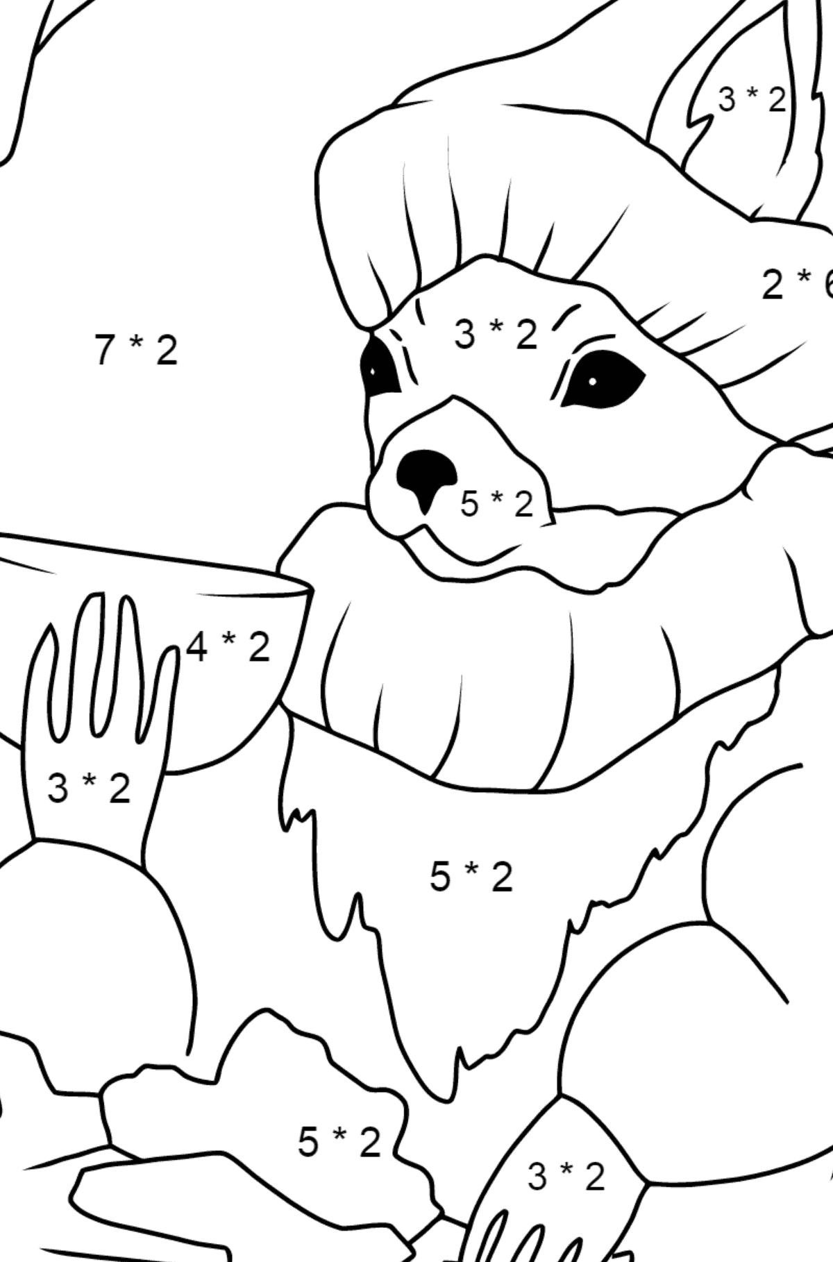 Winter Coloring Page - A Squirrel in a Cozy Burrow is Drinking Tea for Kids  - Color by Number Multiplication