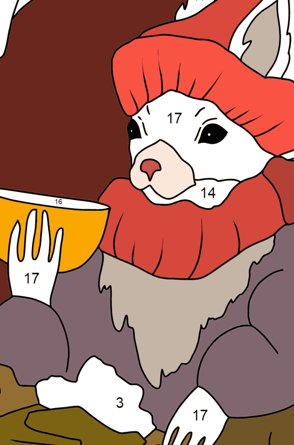 Winter Coloring Page - A Squirrel is Drinking Delicious Tea for Children  - Color by Number