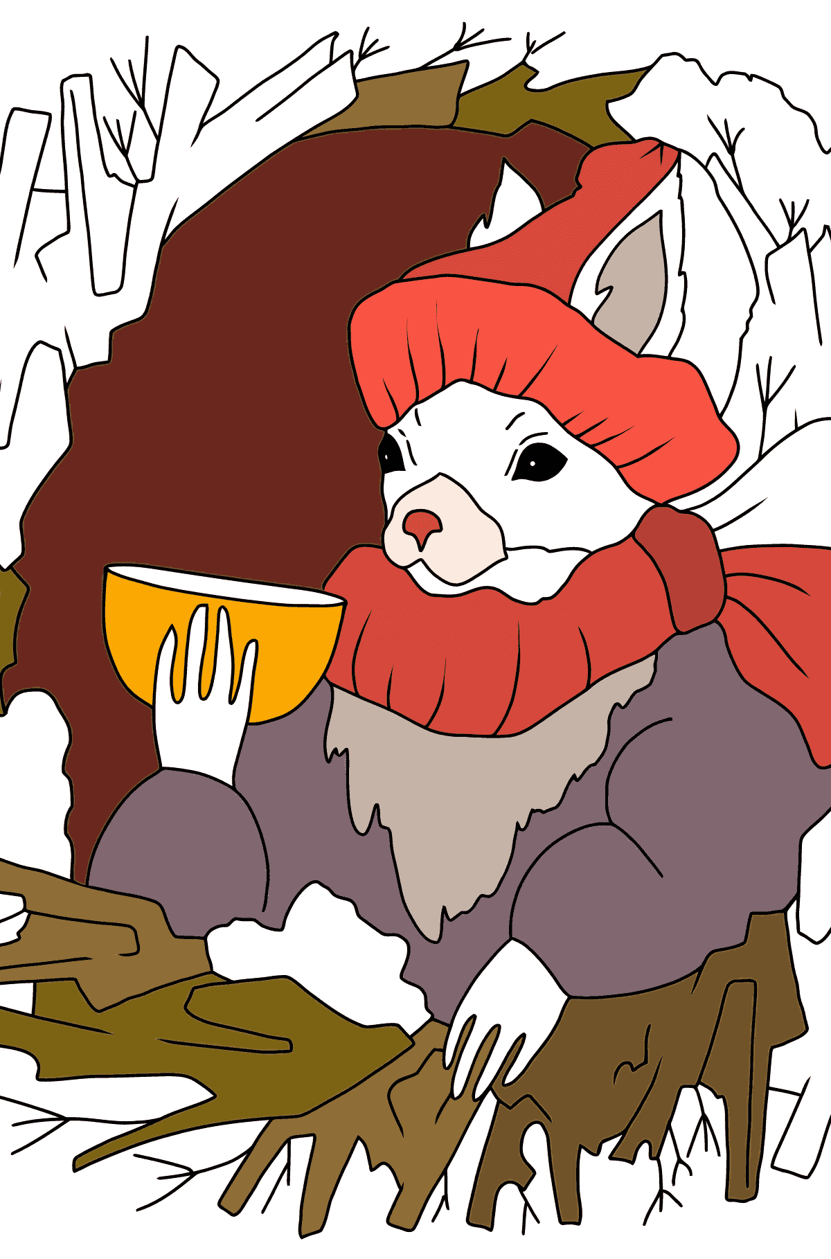 Winter Coloring Page - A Squirrel is Drinking Delicious Tea for Children