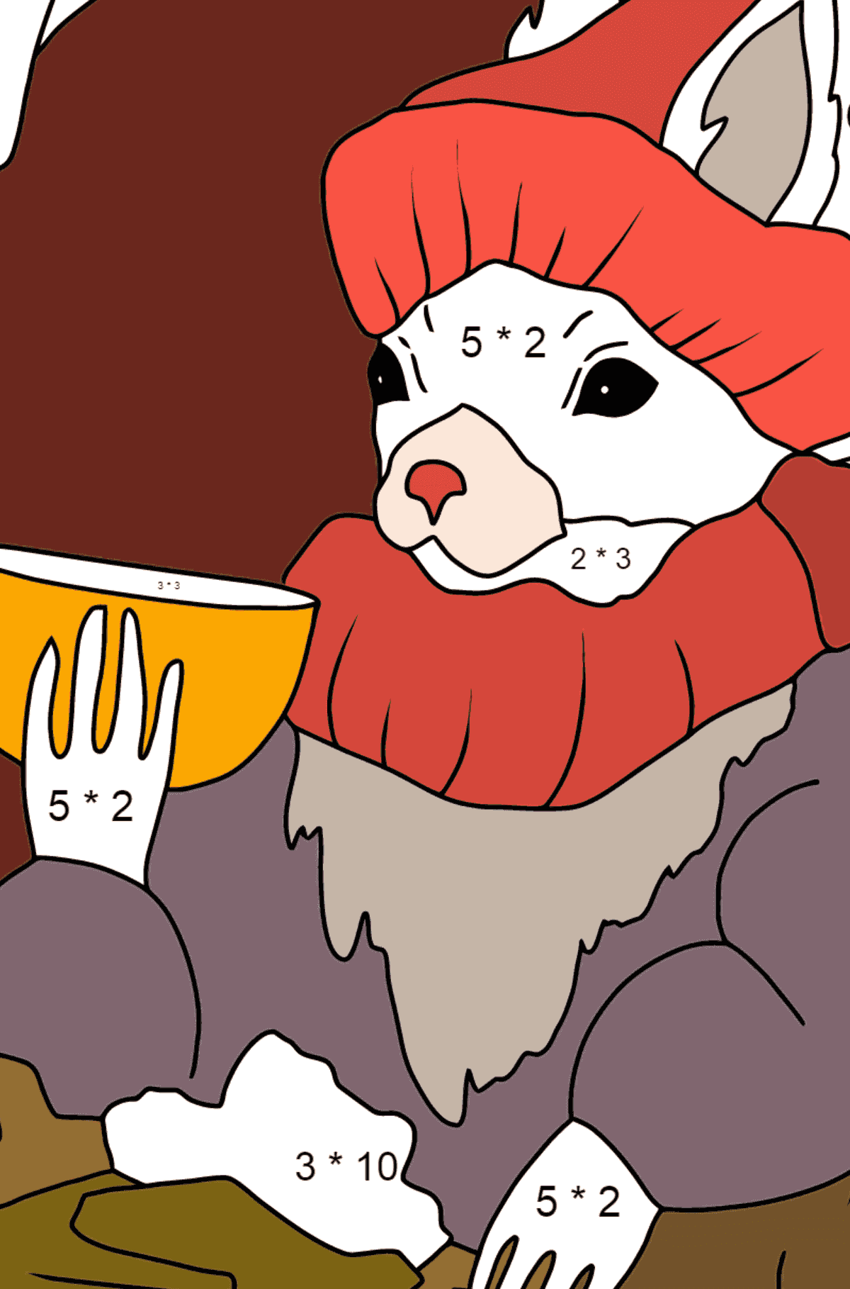 Winter Coloring Page - A Squirrel is Drinking Delicious Tea for Children  - Color by Number Multiplication