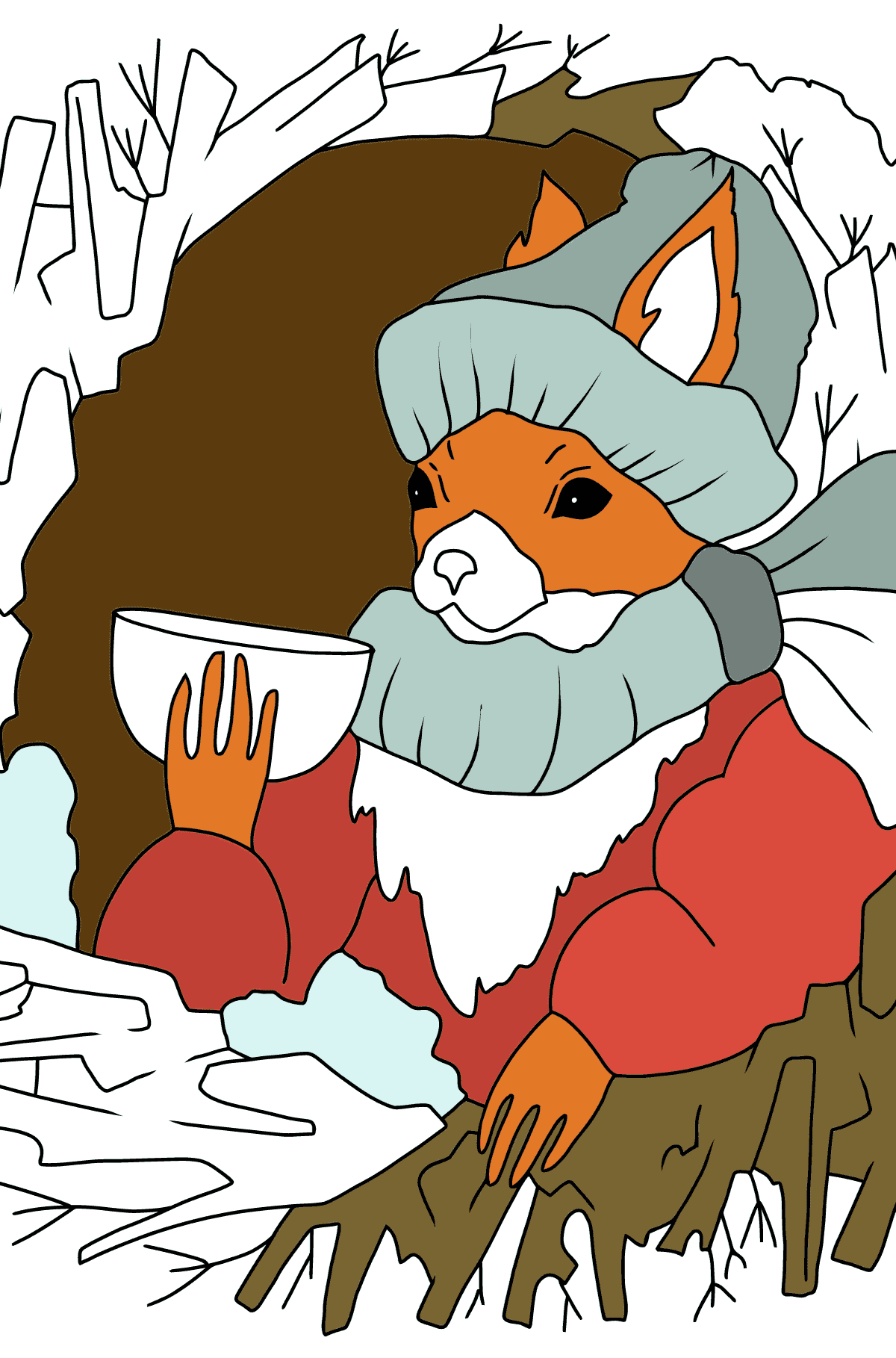 Winter Coloring Page - A Squirrel is Drinking Tea for Kids