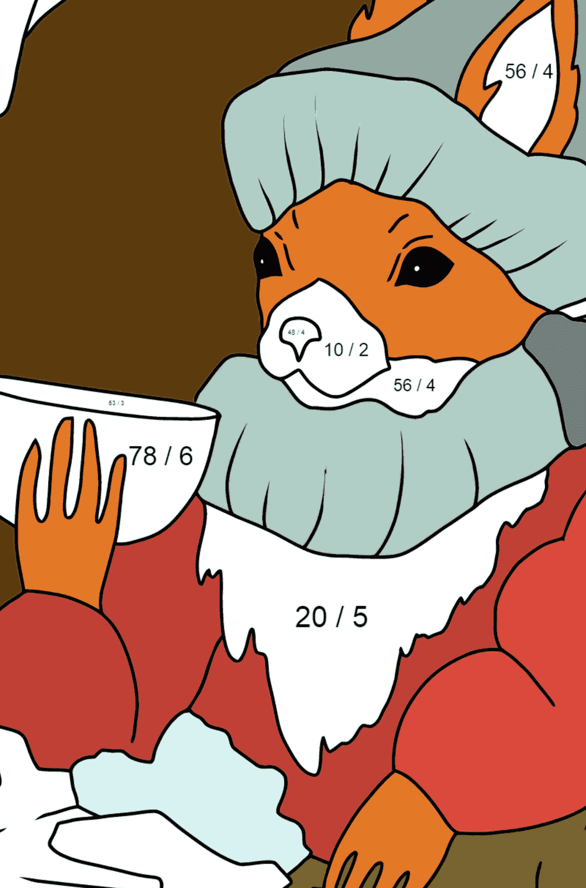 Winter Coloring Page - A Squirrel is Drinking Tea for Children  - Color by Number Division