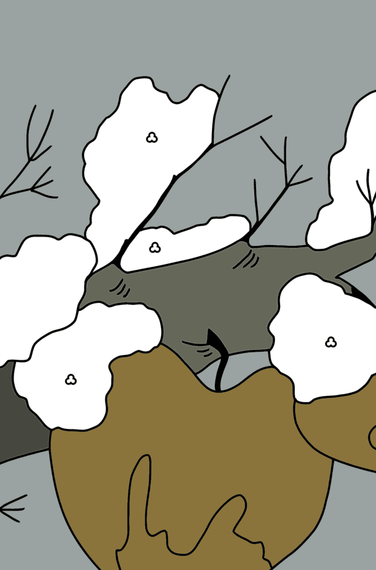 Winter Coloring Page - Apples and the First Snow for Children  - Color by Geometric Shapes
