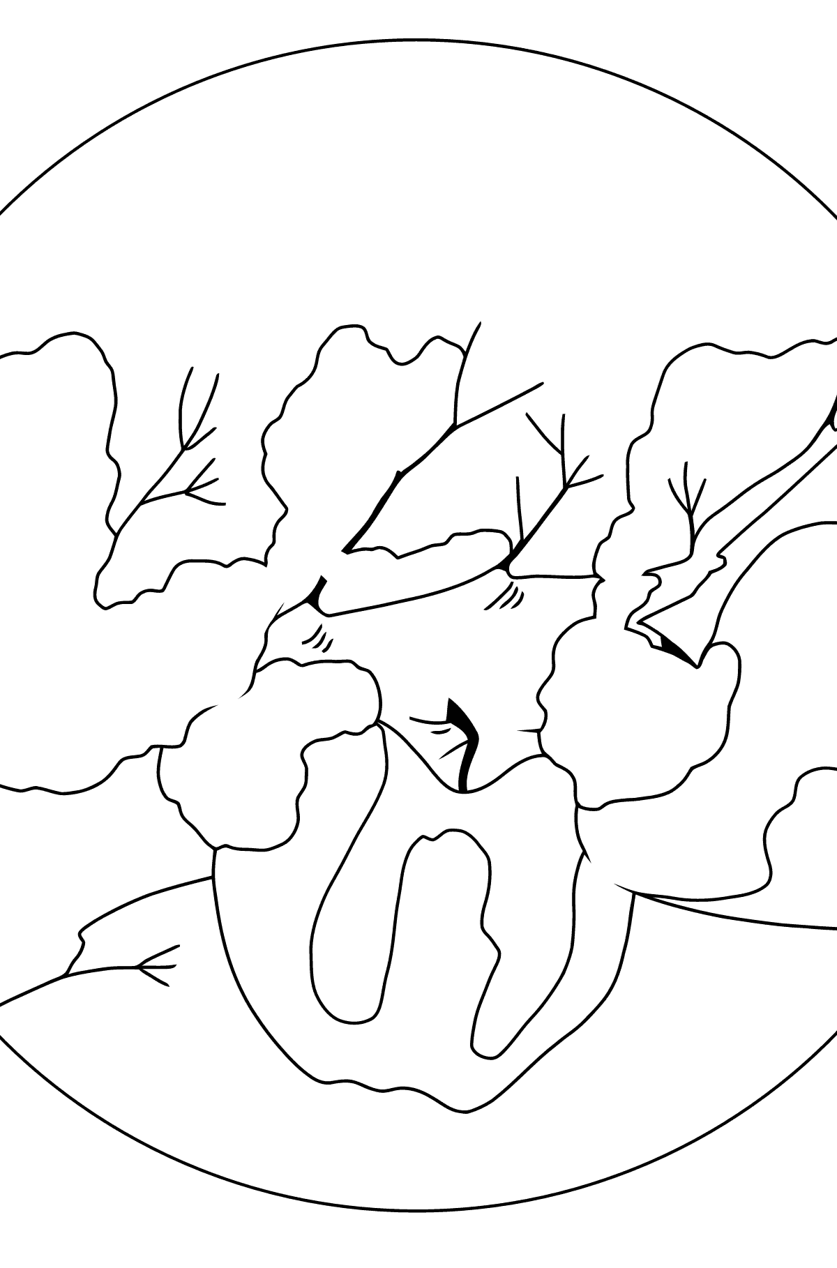 Winter Coloring Page - Apples in the Snow for Kids