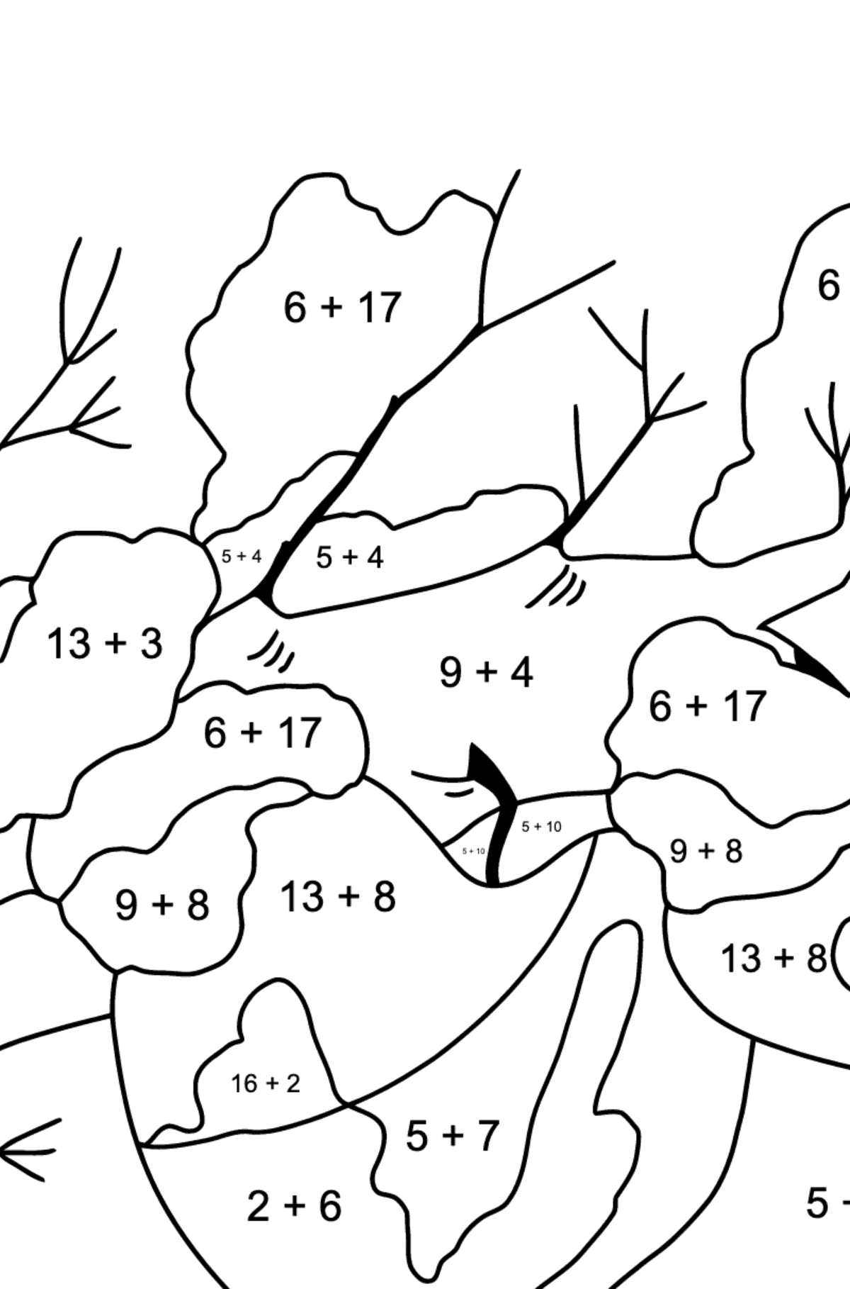 Winter Coloring Page - How Apples Hid in the Snow for Children  - Color by Number Addition