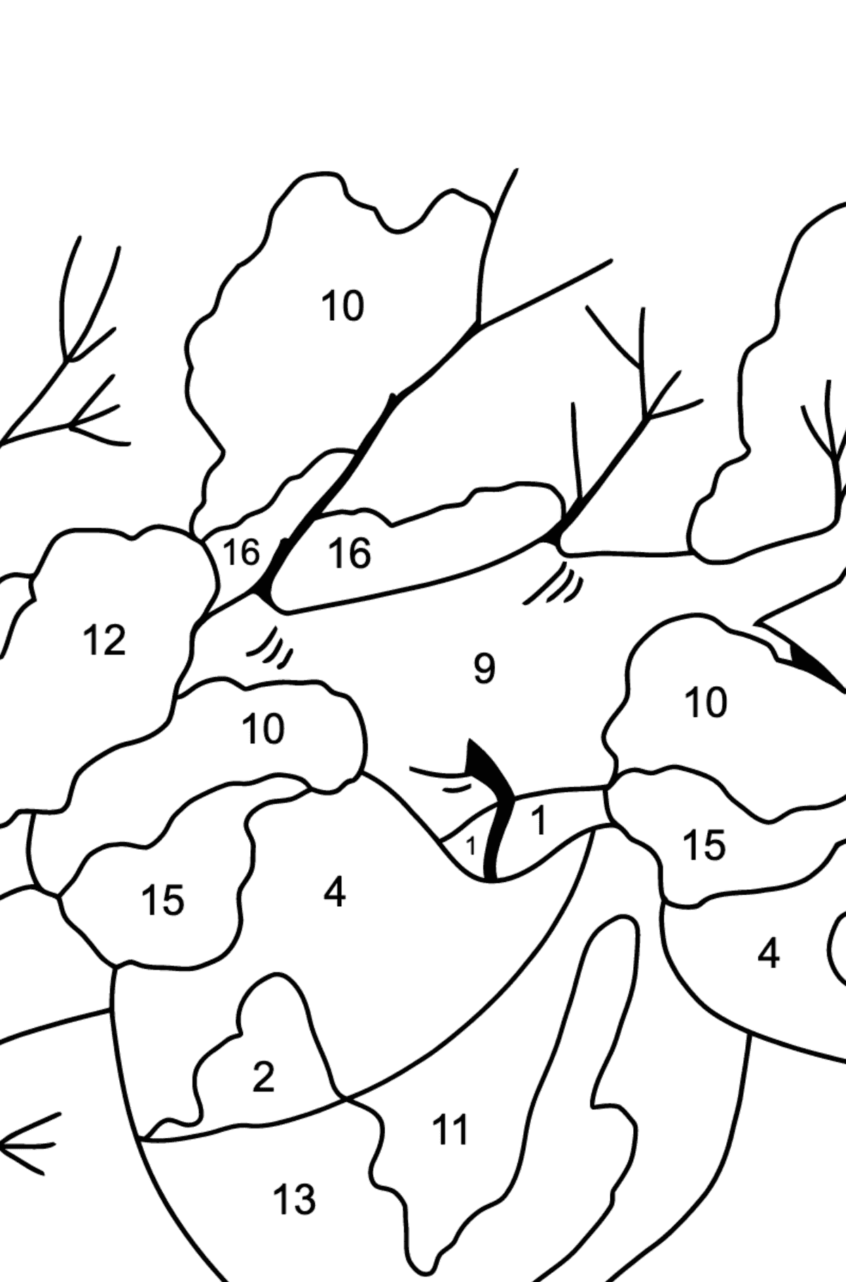 Winter Coloring Page - How Apples Hid in the Snow for Kids  - Color by Number