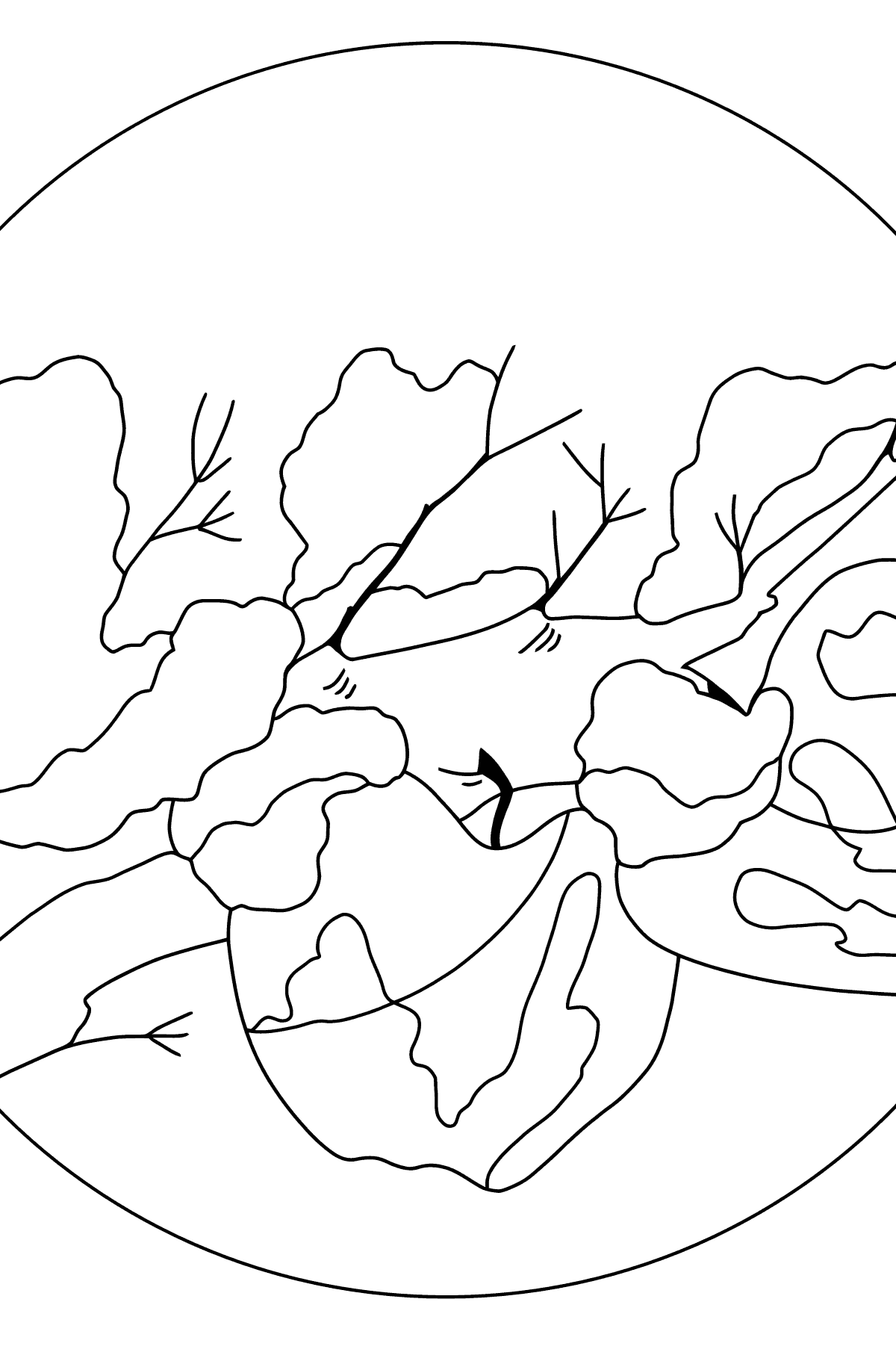 Winter Coloring Page - How Apples Hid in the Snow for Children