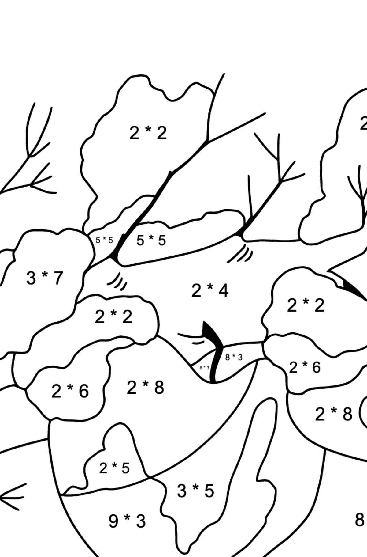 Winter Coloring Page - How Apples Hid in the Snow for Kids  - Color by Number Multiplication