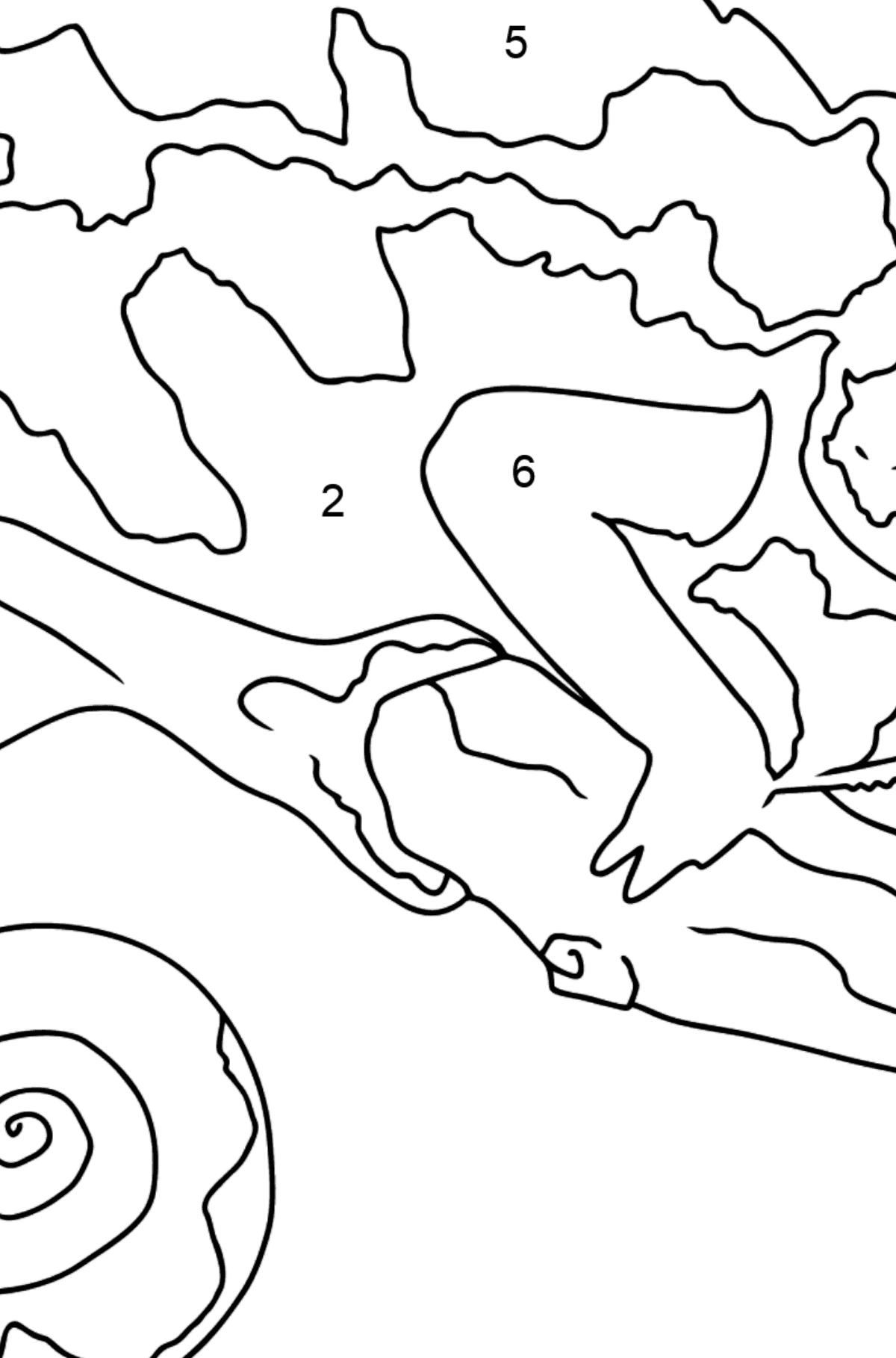 Coloring Page - A Chameleon is Having a Rest - Coloring by Numbers for Kids